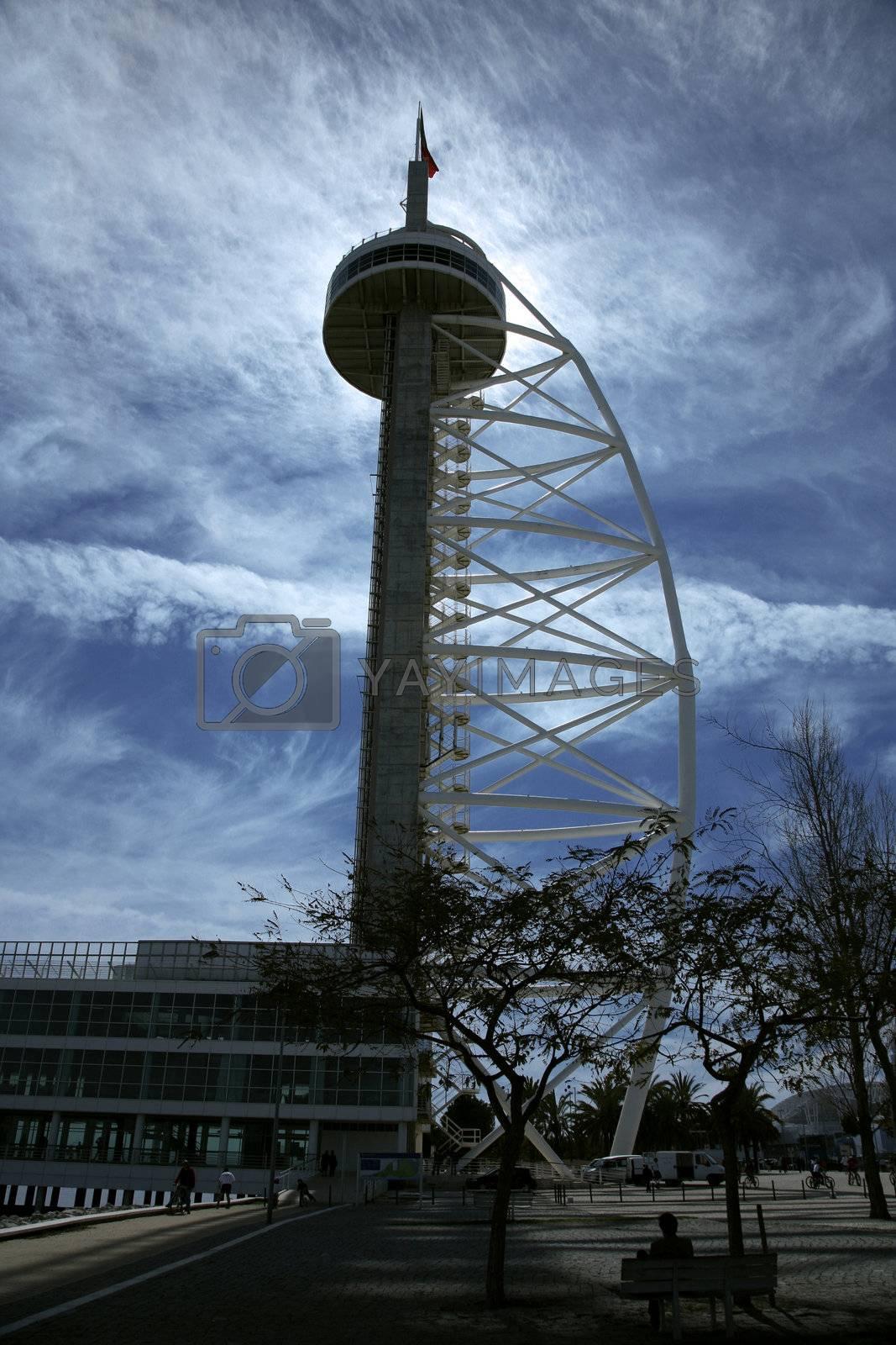 communication tower at lisboa coast