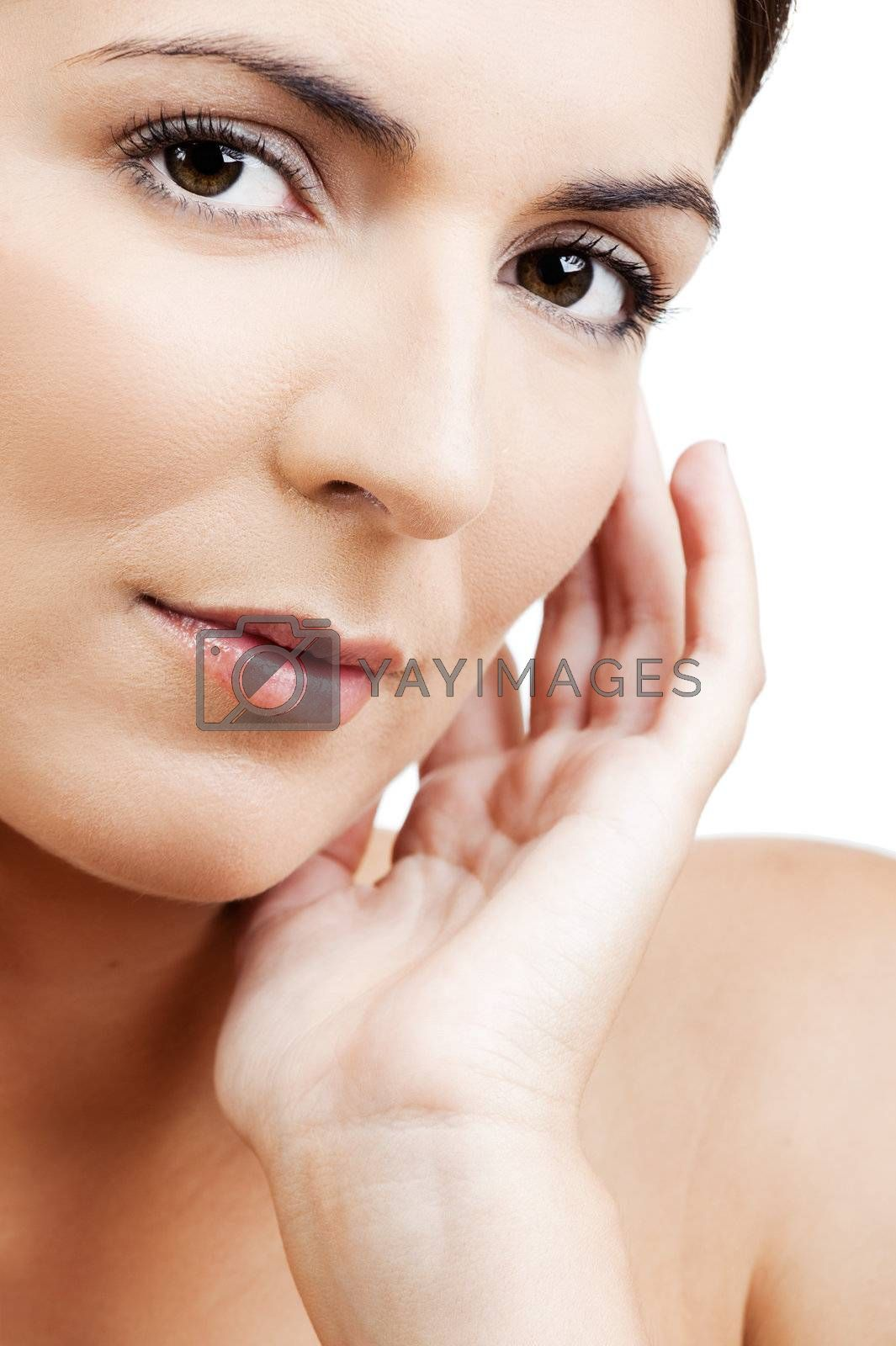 Close-up portrait of a beautiful and fresh woman isolated on white