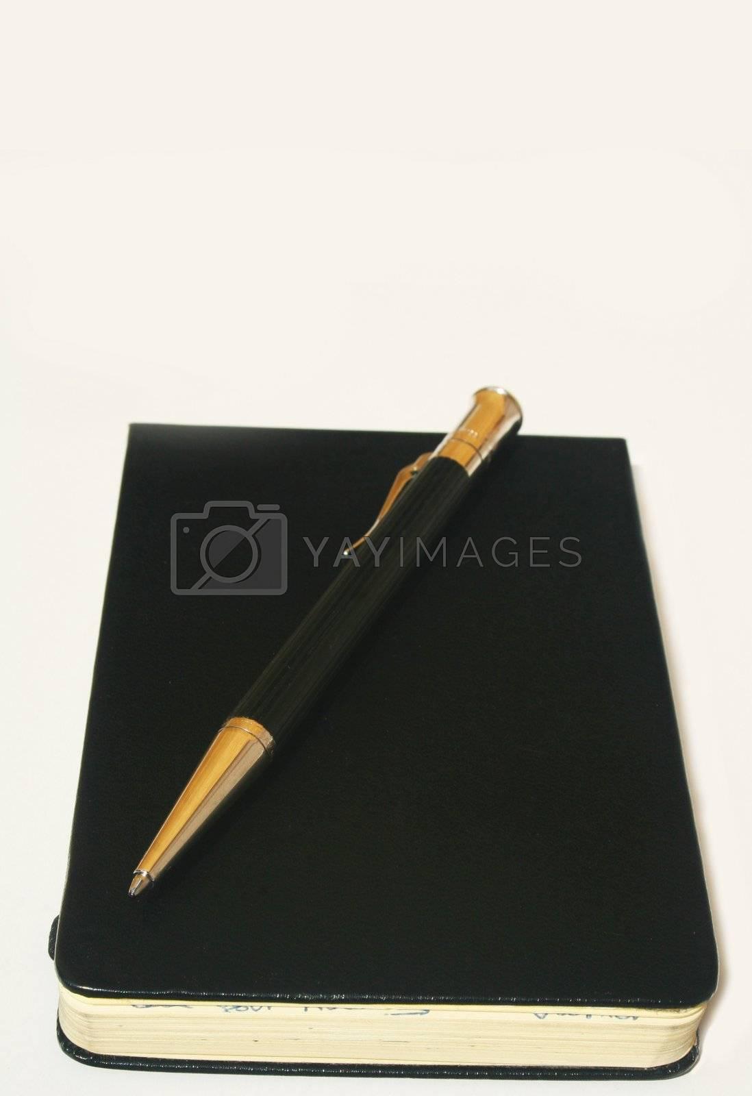 Ballpoint pen on rectangular leather notepad