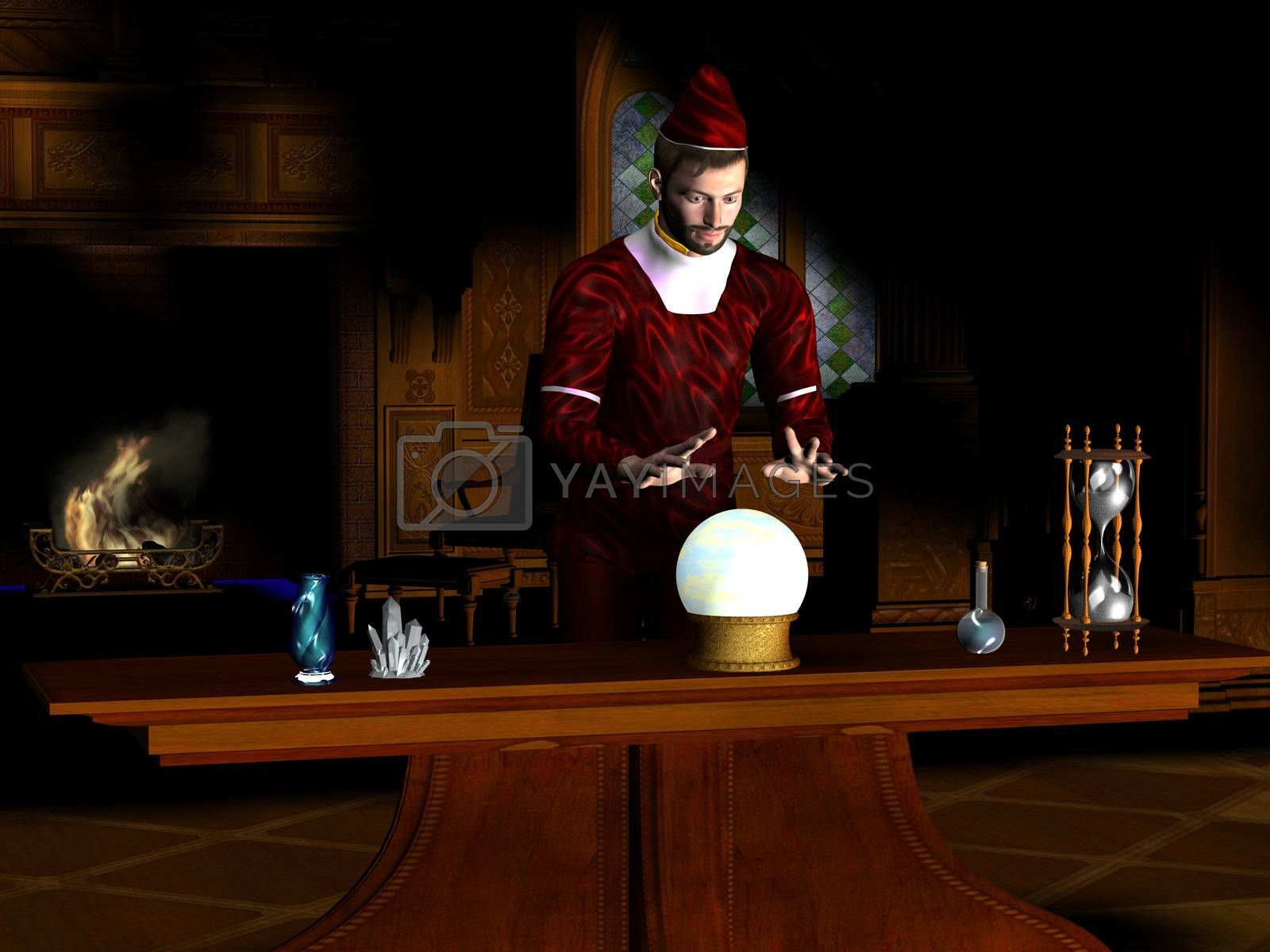 A magician sees a prophecy in his crystal ball.