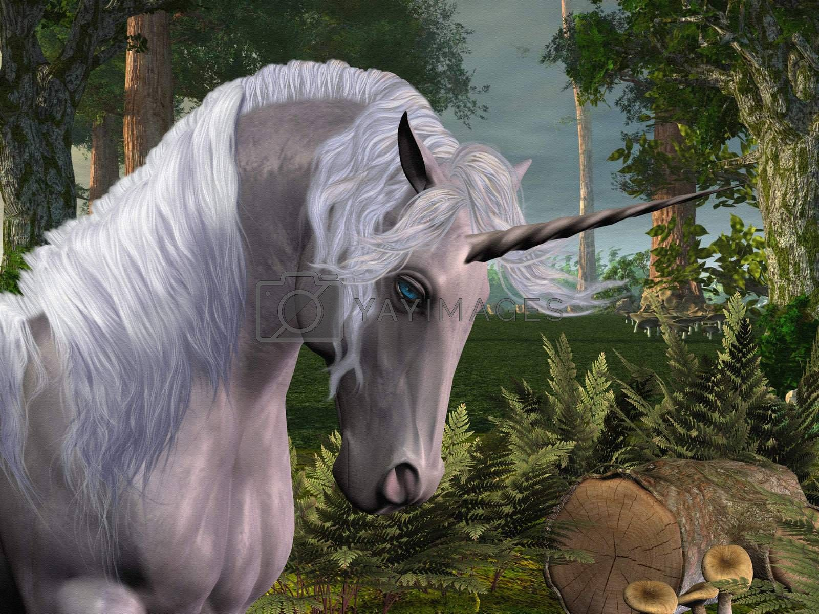A beautiful stag unicorn passes through a magical forest.
