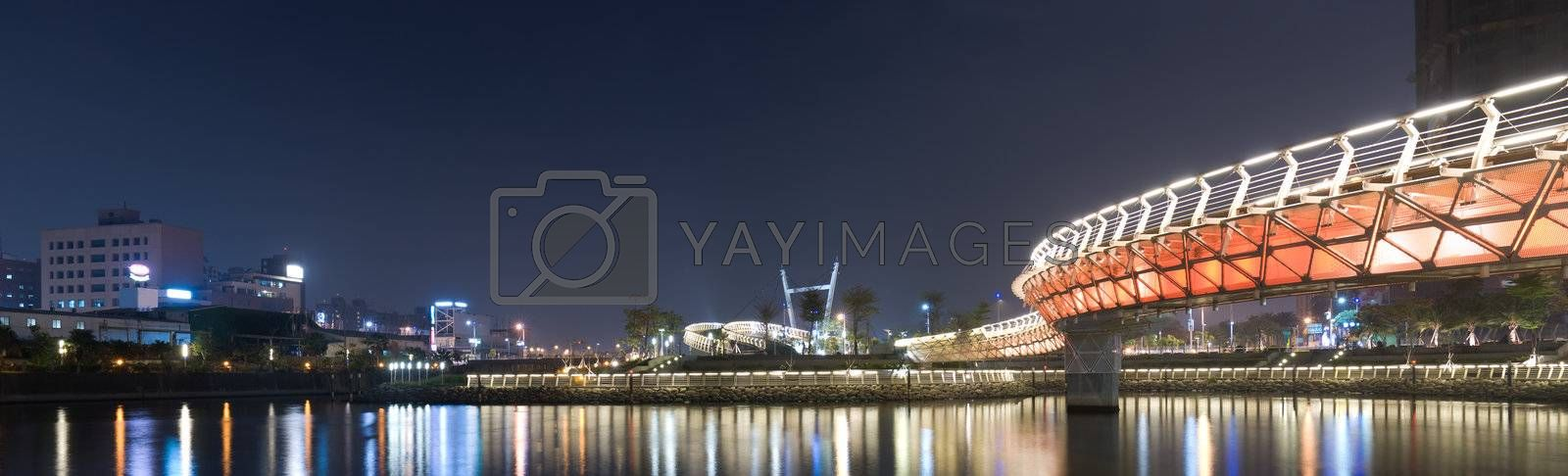 City night scenic of panorama with buildings and color bridge in Kaohsiung, Taiwan.