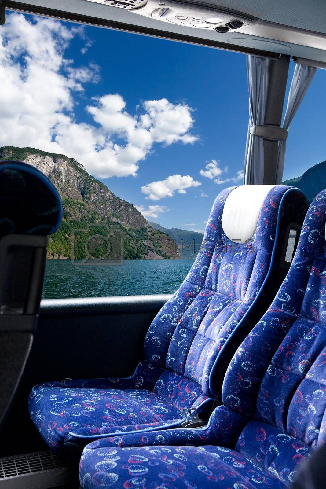 A fjord view from a bus