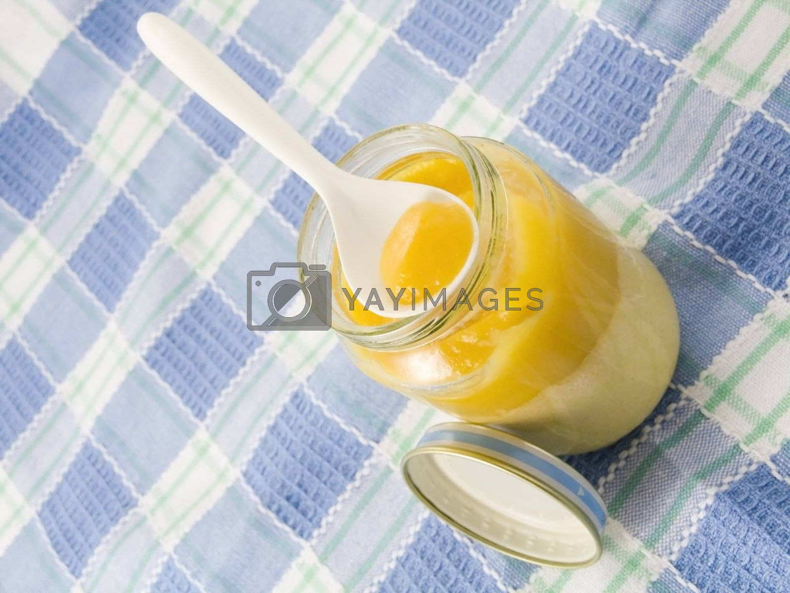 Close-up of baby food isolated on white background