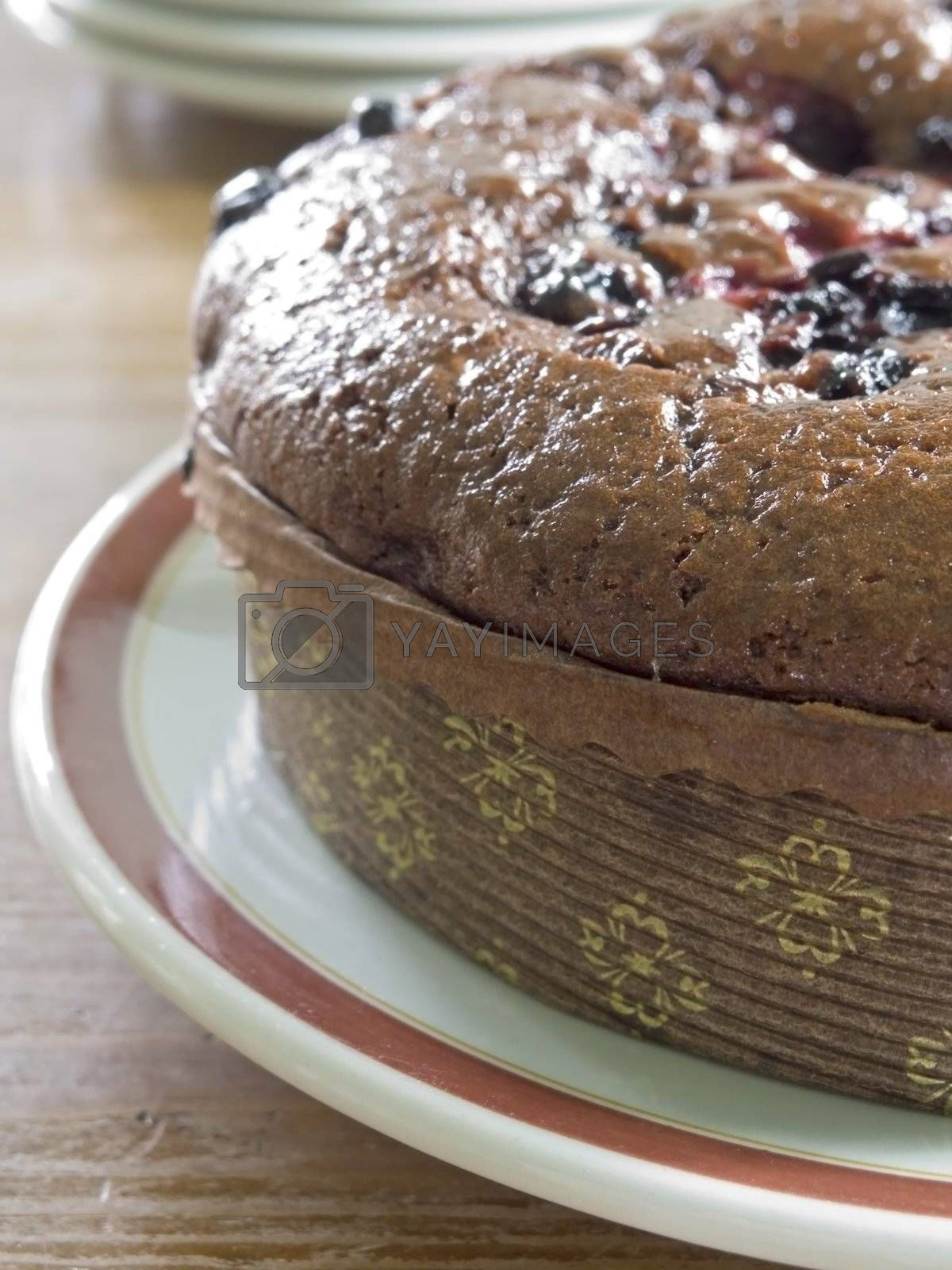 close-up of chocolate cake with berries