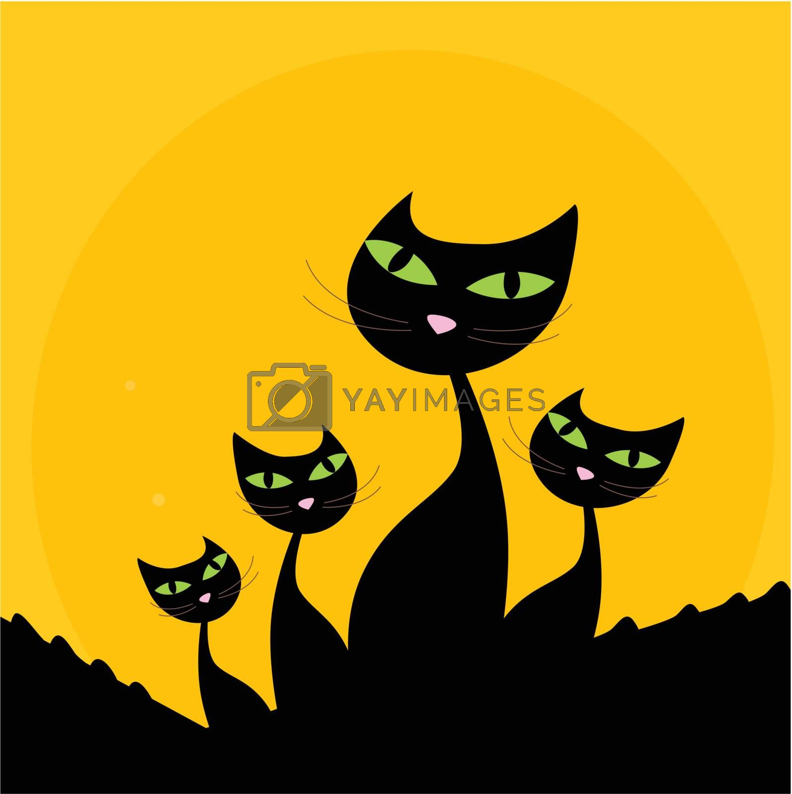 Cat Family Black Silhouette On Orange Background Royalty Free Stock Image Stock Photos Royalty Free Images Vectors Footage Yayimages