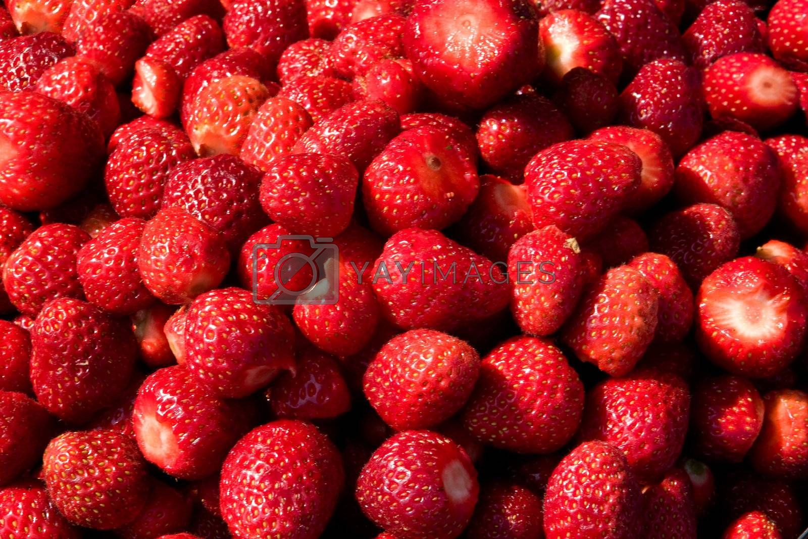A background of fresh strawberries