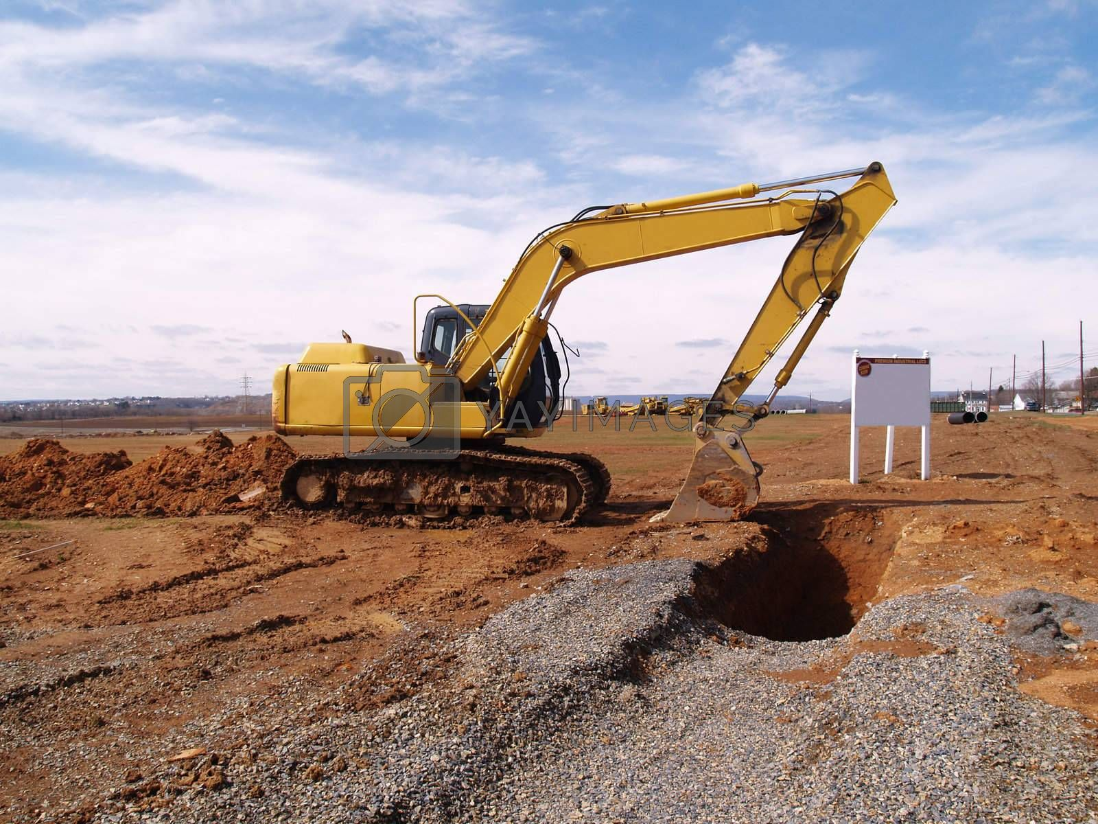 heavy duty construction equipment at a work site