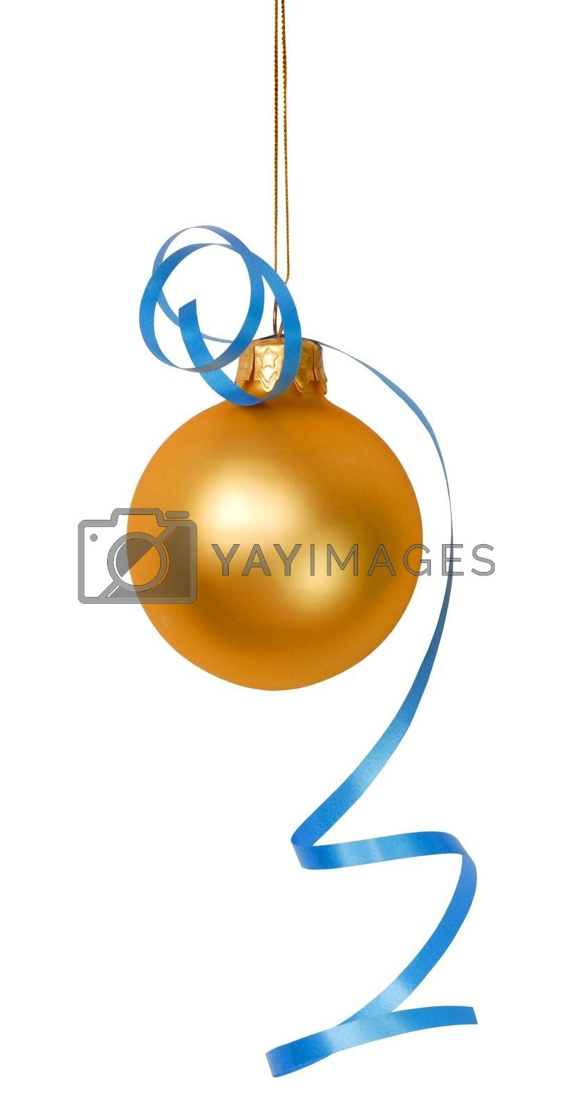 Christmas bauble with blue ribbon isolated on white