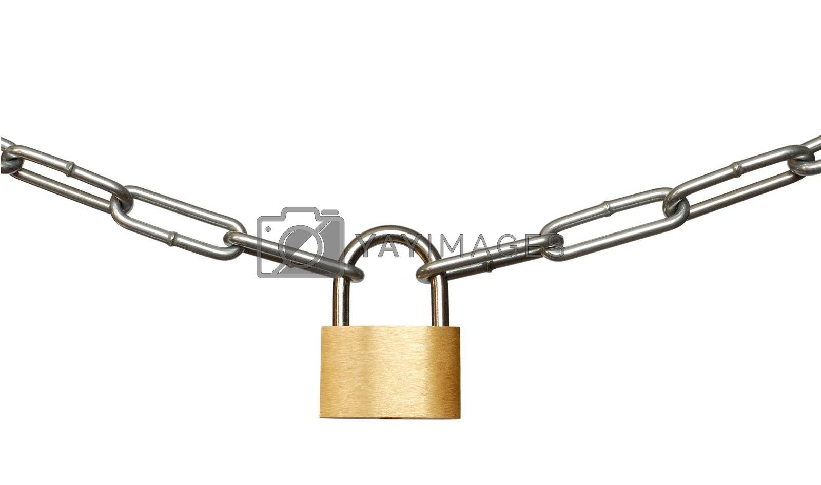 Isolated padlock and chain