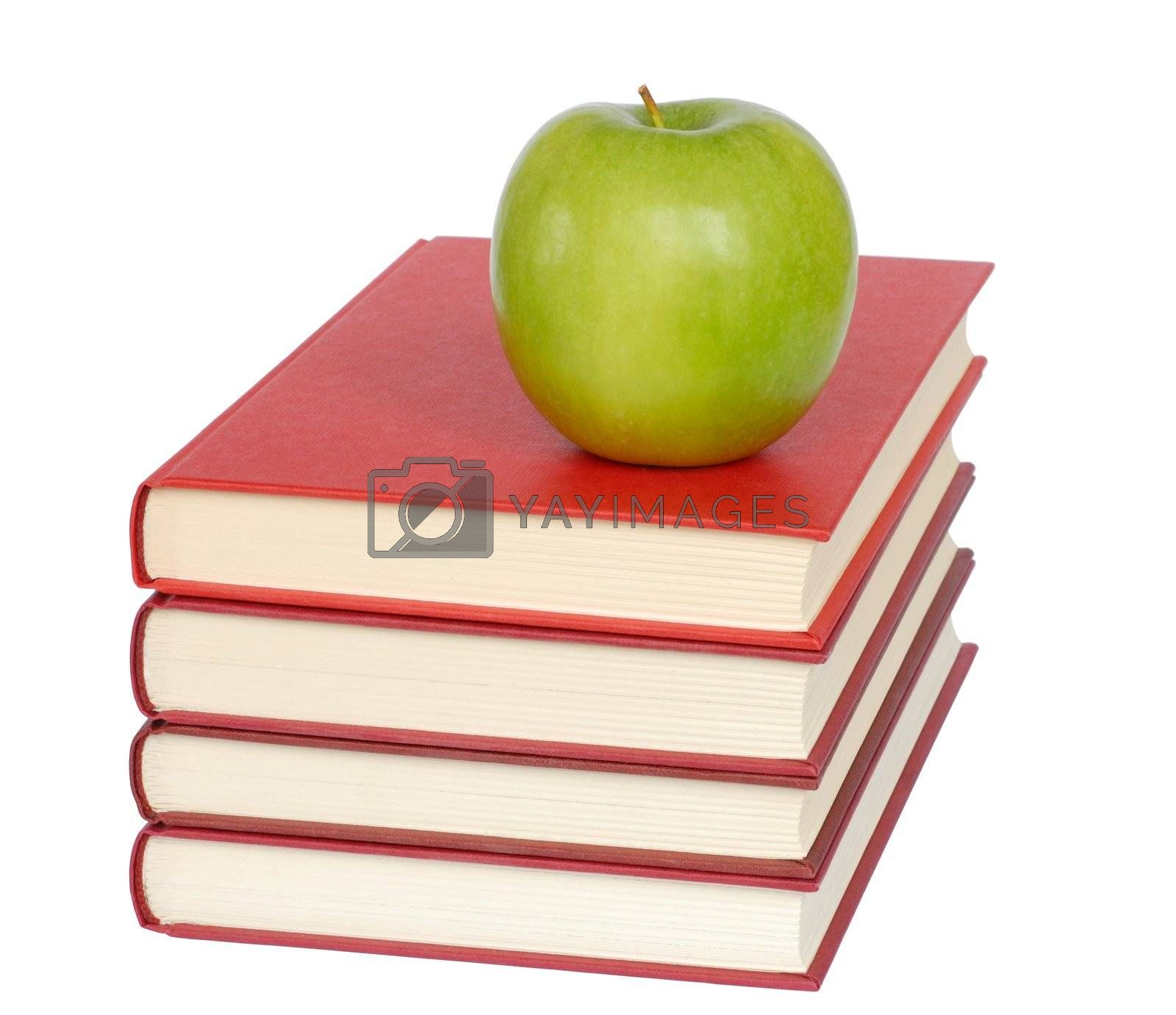 Healthy lifestyle - isolated apple and books