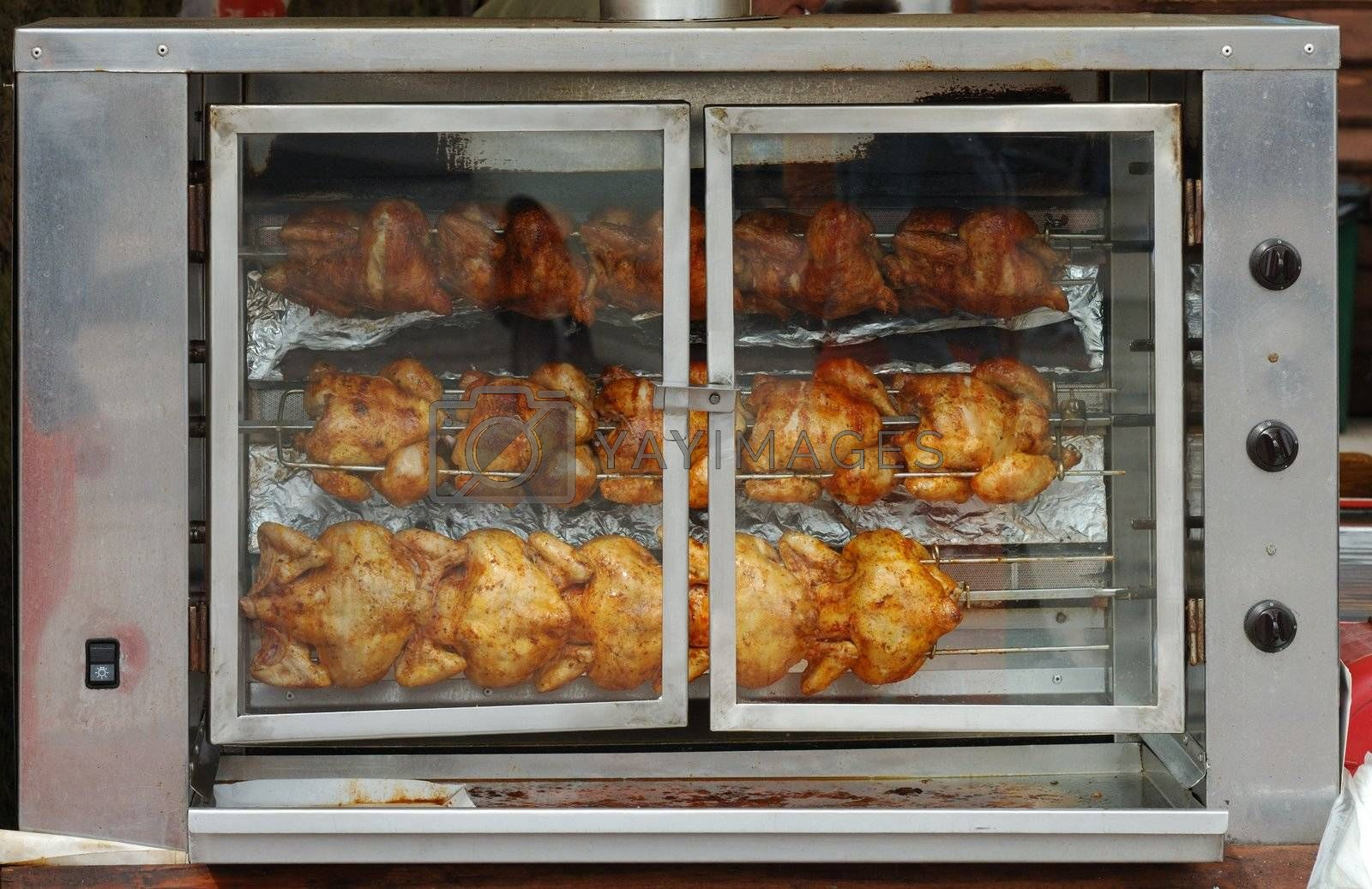Roast chicken rotating and waiting for hungry people :)