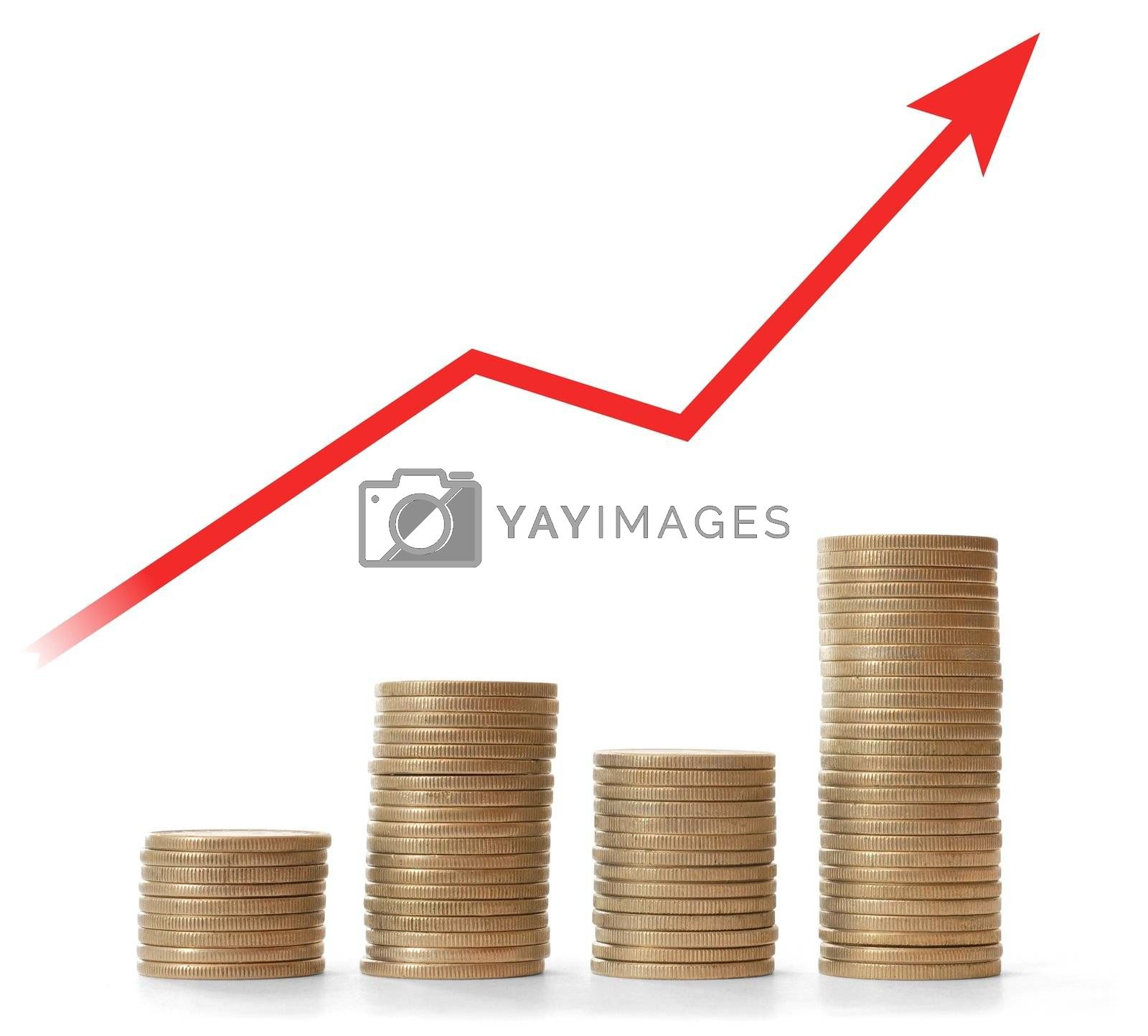 Money stacks and red arrow on white background
