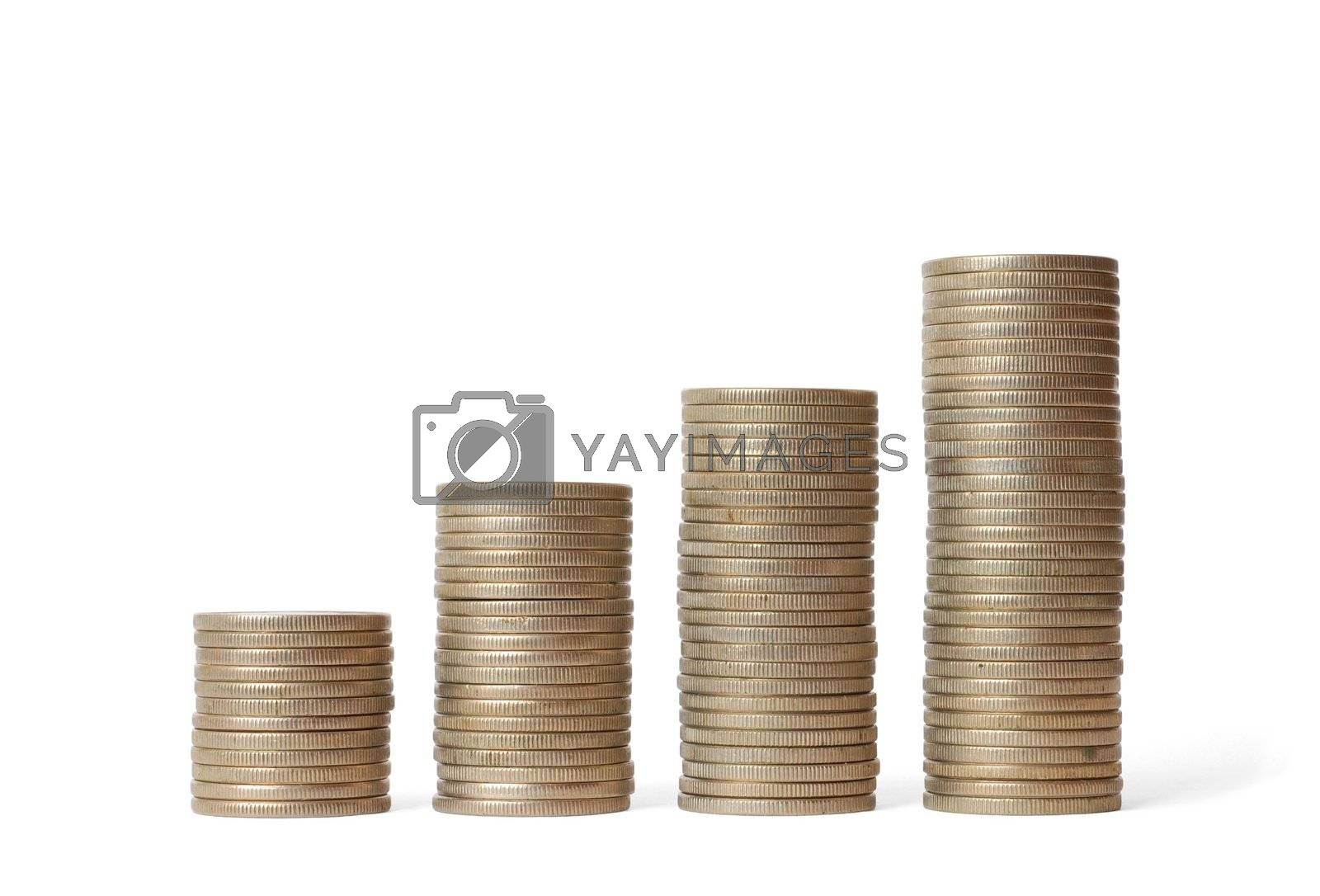 Isolated coin stacks