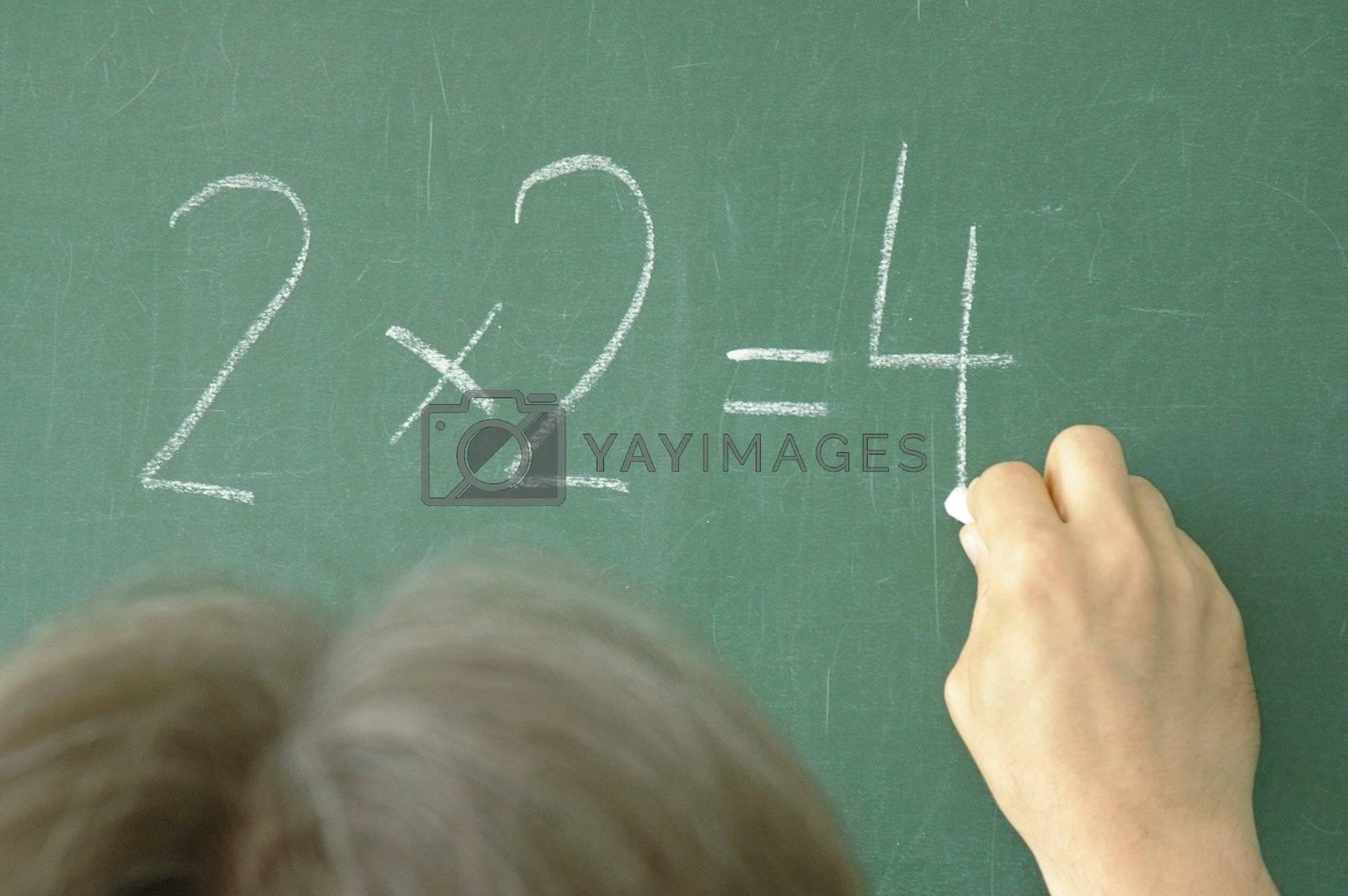 2x2=4 on blackboard