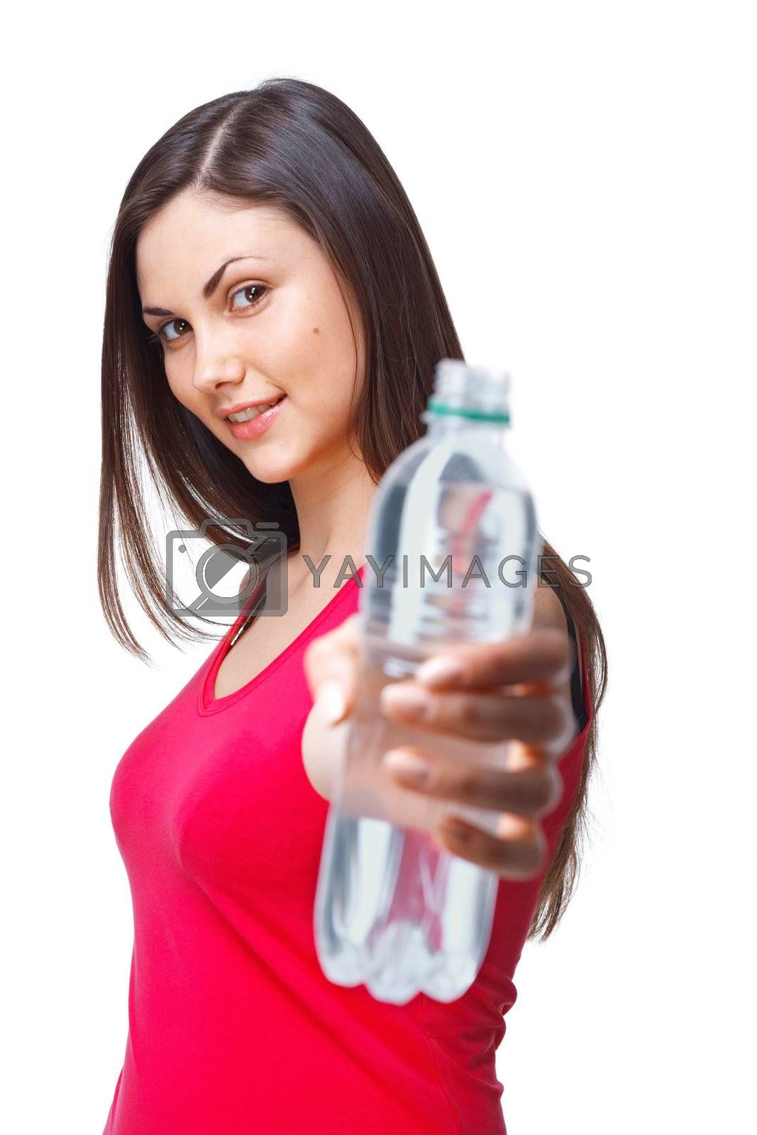 A close up portrait of a young woman bottle of water