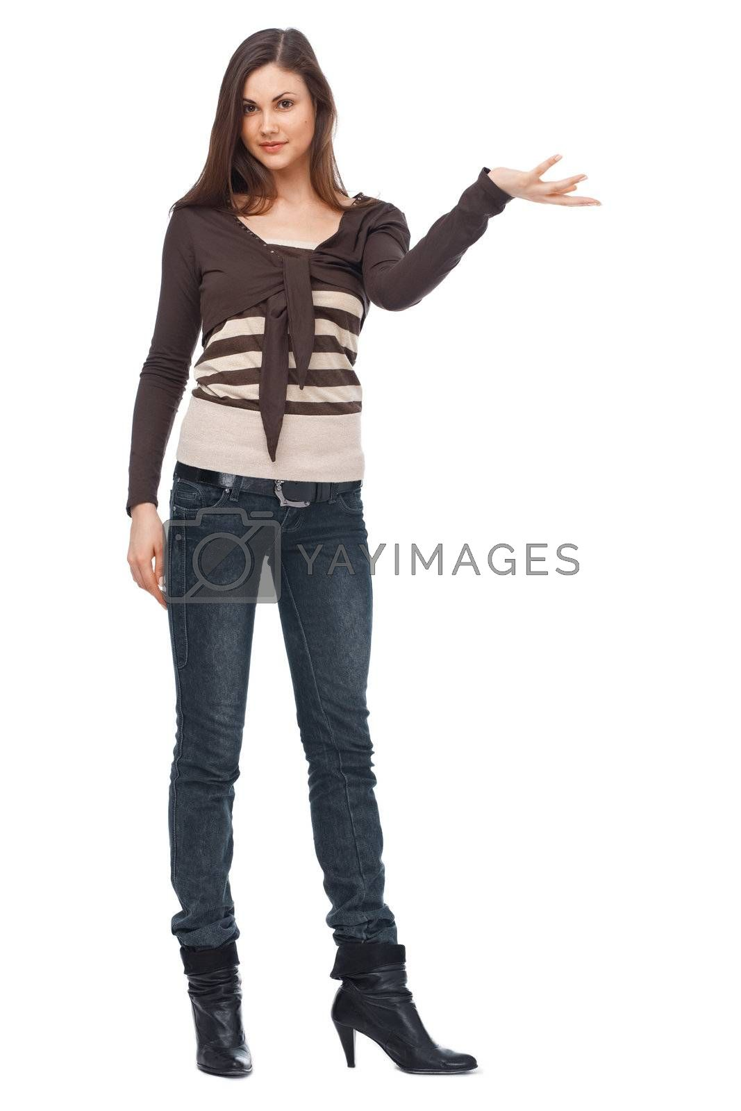 Full length of a young Caucasian woman on white