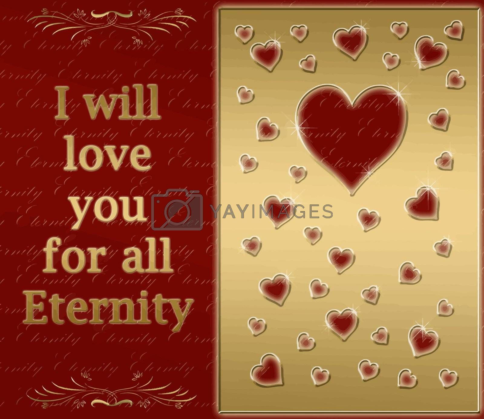 beautiful golden card for love for all eternity