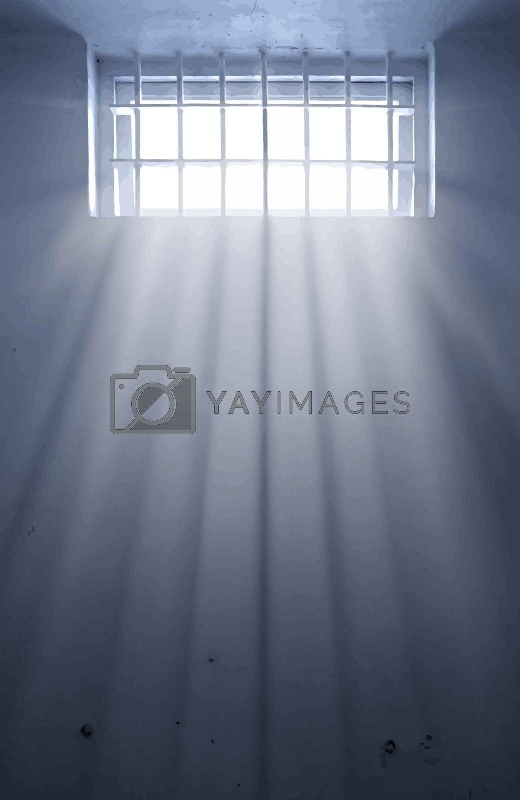 a cold prison cell with sunshine through window