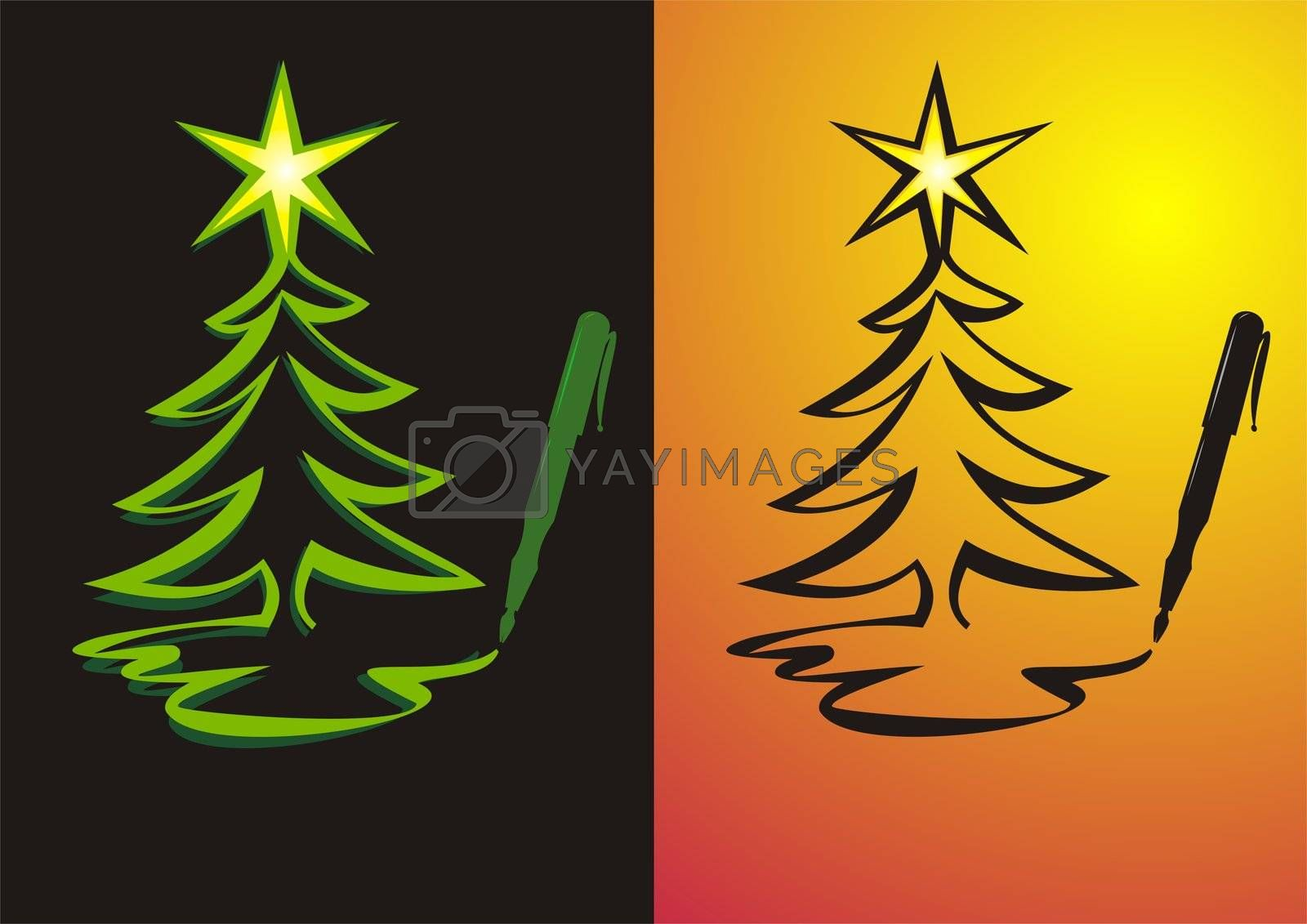 Illustration of a Christmas tree being painted as a symbol for writing Christmas letters