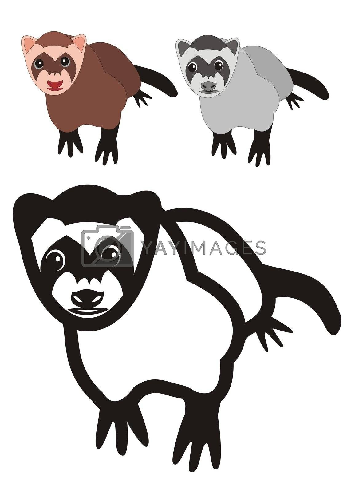 illustration of a ferret, black outlines, grayscale and color.