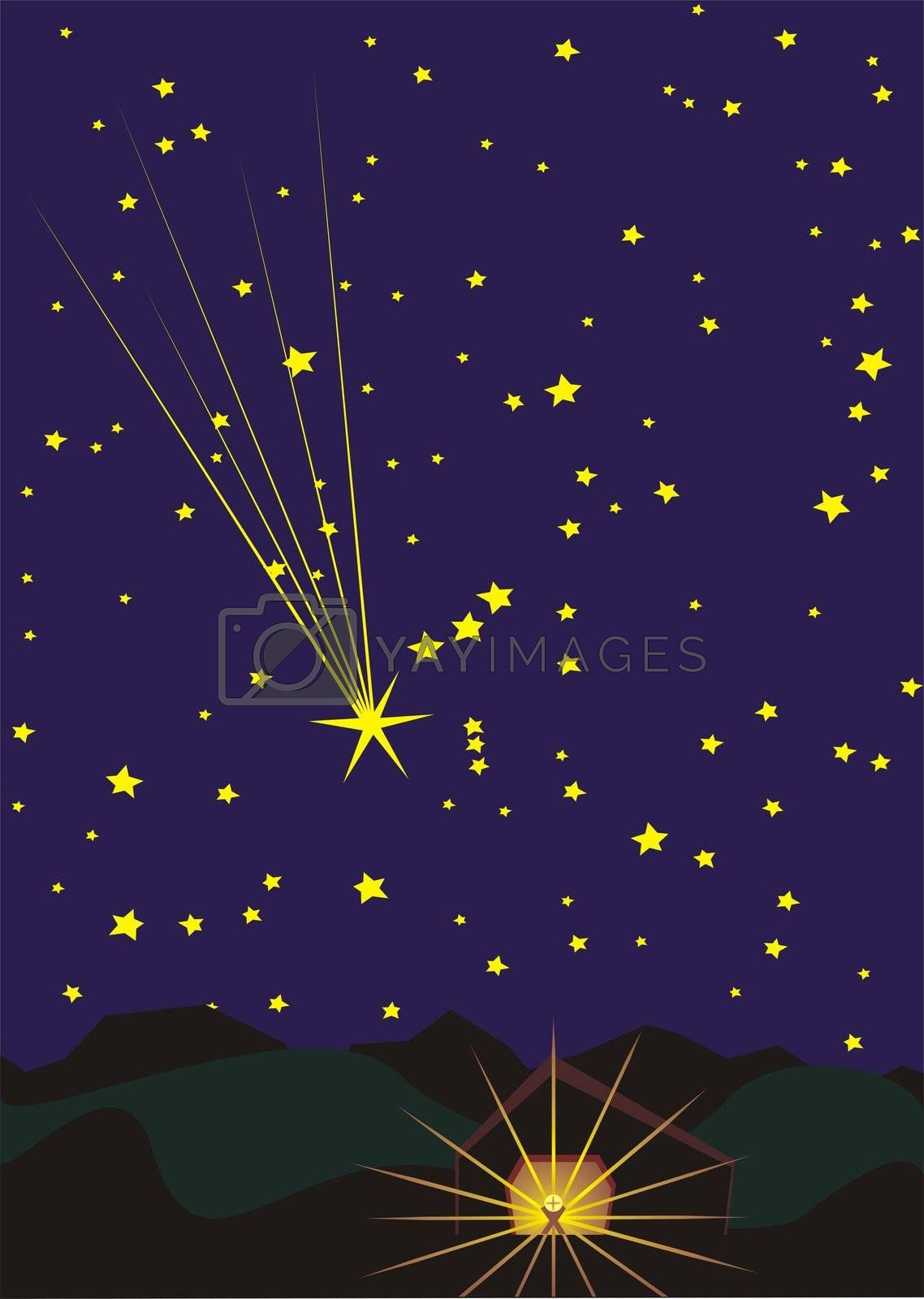 star over Bethlehem, Christmas illustration