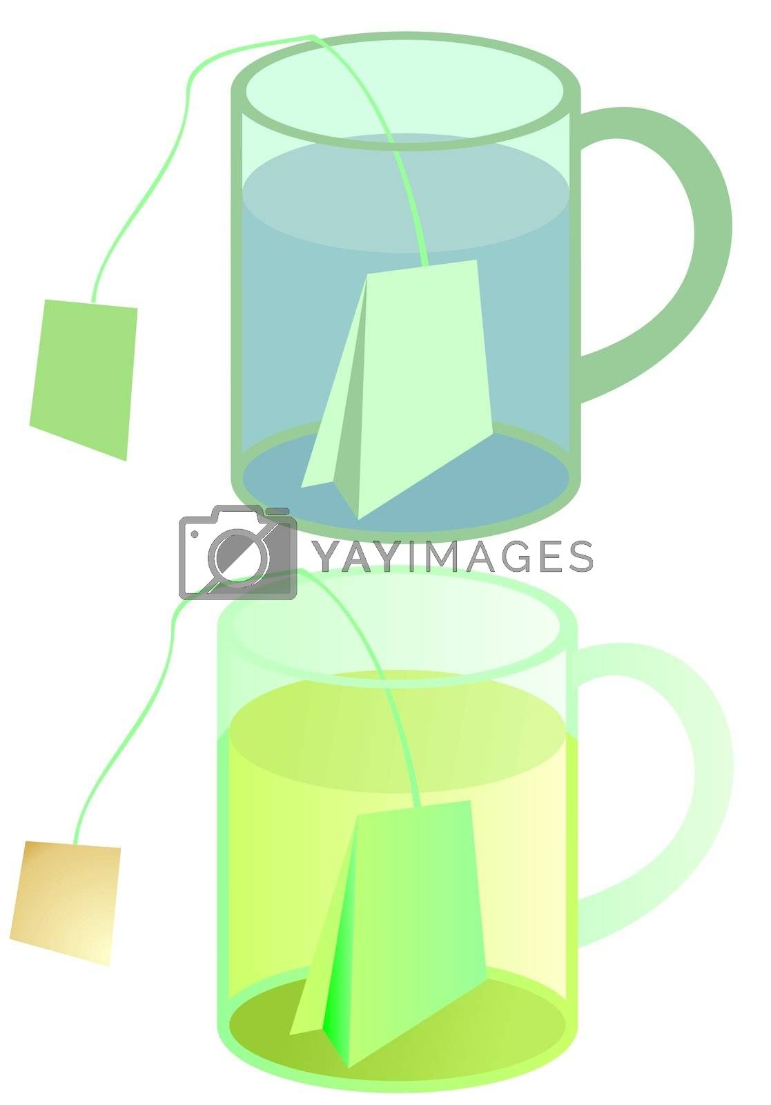 glass of tea with teabag, illustration with and without gradient