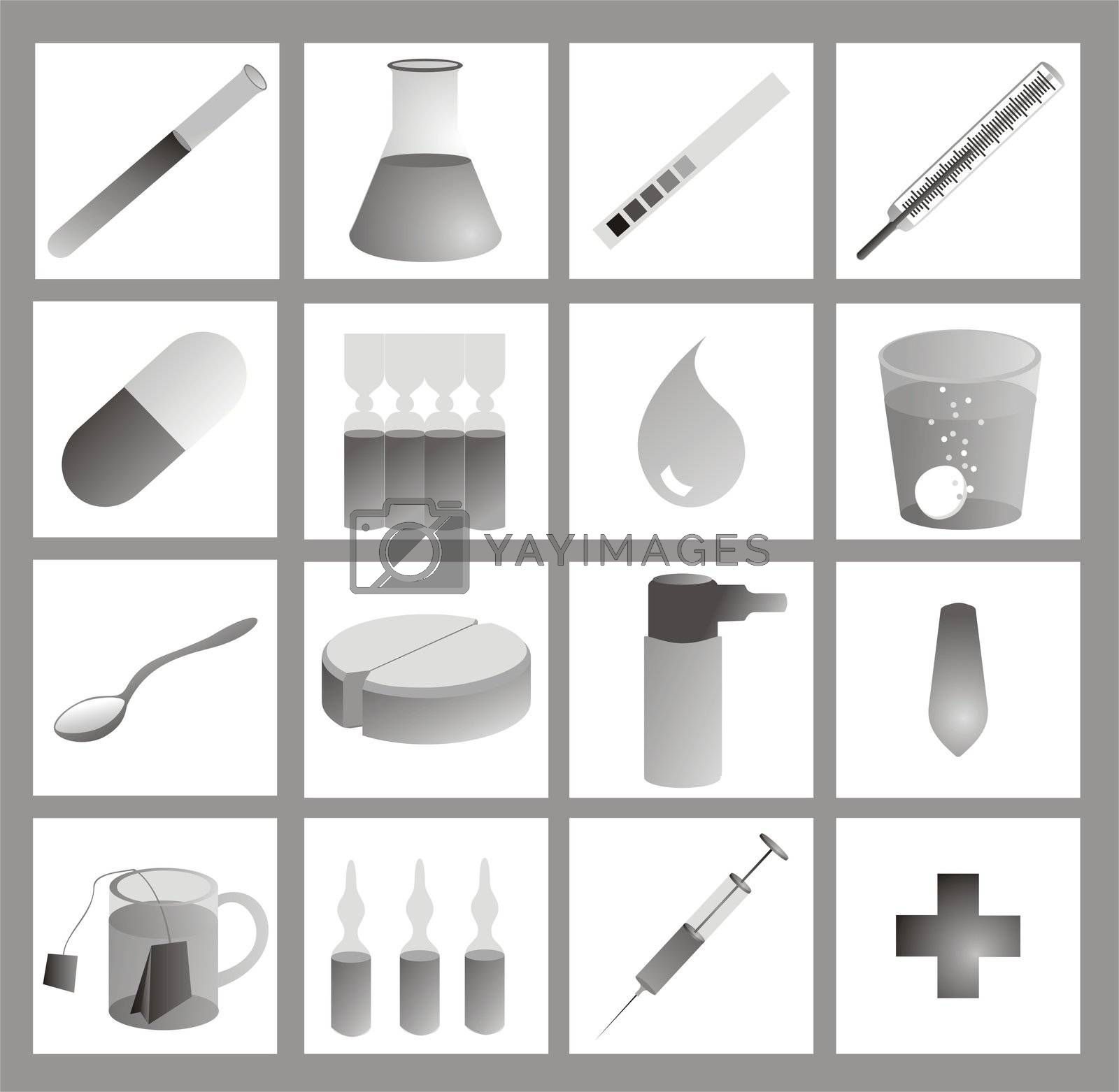 medical icons, grayscale on white, with gradients
