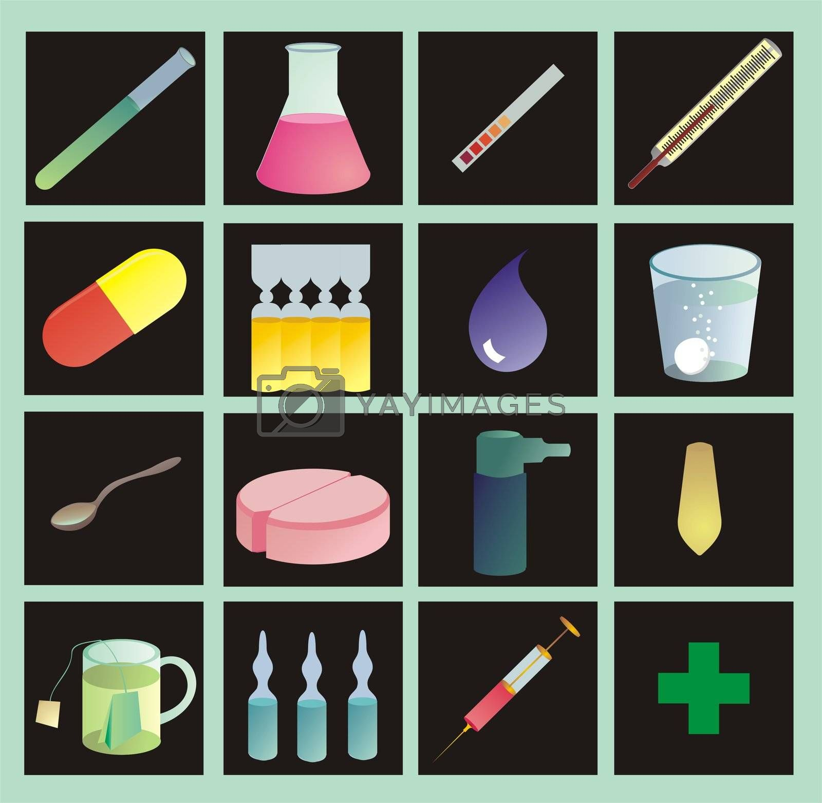 medical icons, color on black, with gradients