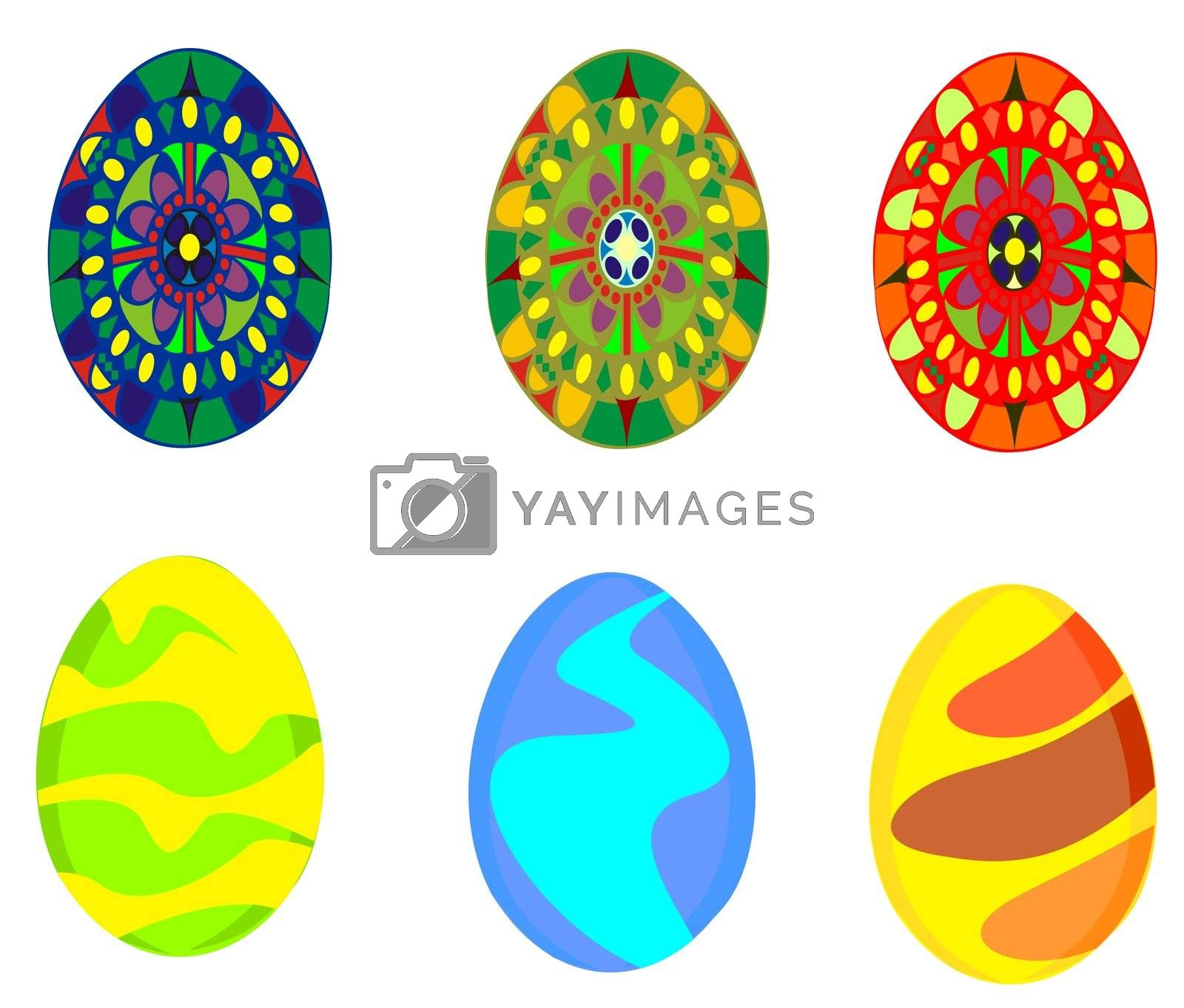 six easter eggs with different colors and patterns, no gradients