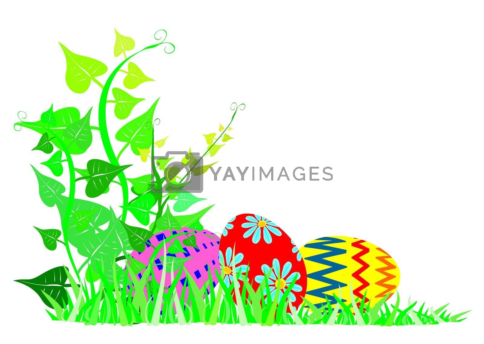 decorative easter-eggs lying in the grass behind a vine