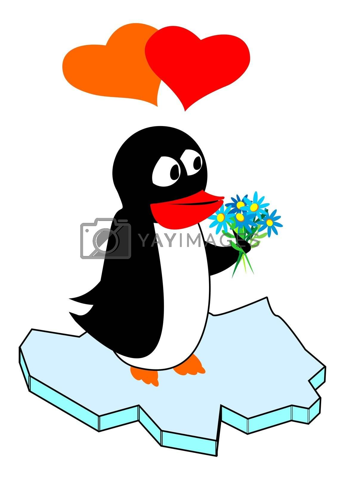 penguin in love, standing with a bunch of flowers on ice, can be used for birthday cards, Valentines and other congratulations