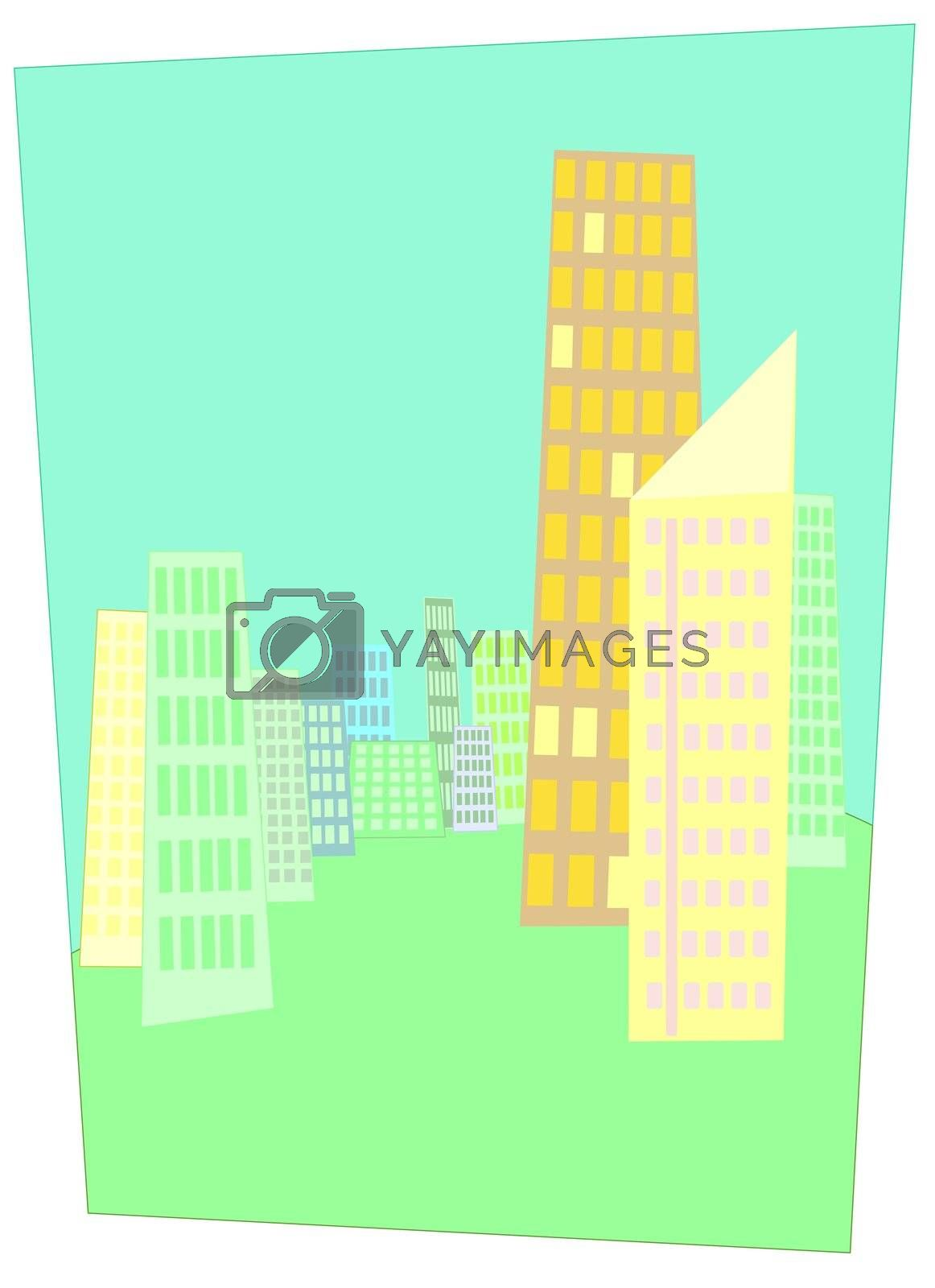 Illustration of a city with skyscrapers in springtime colors