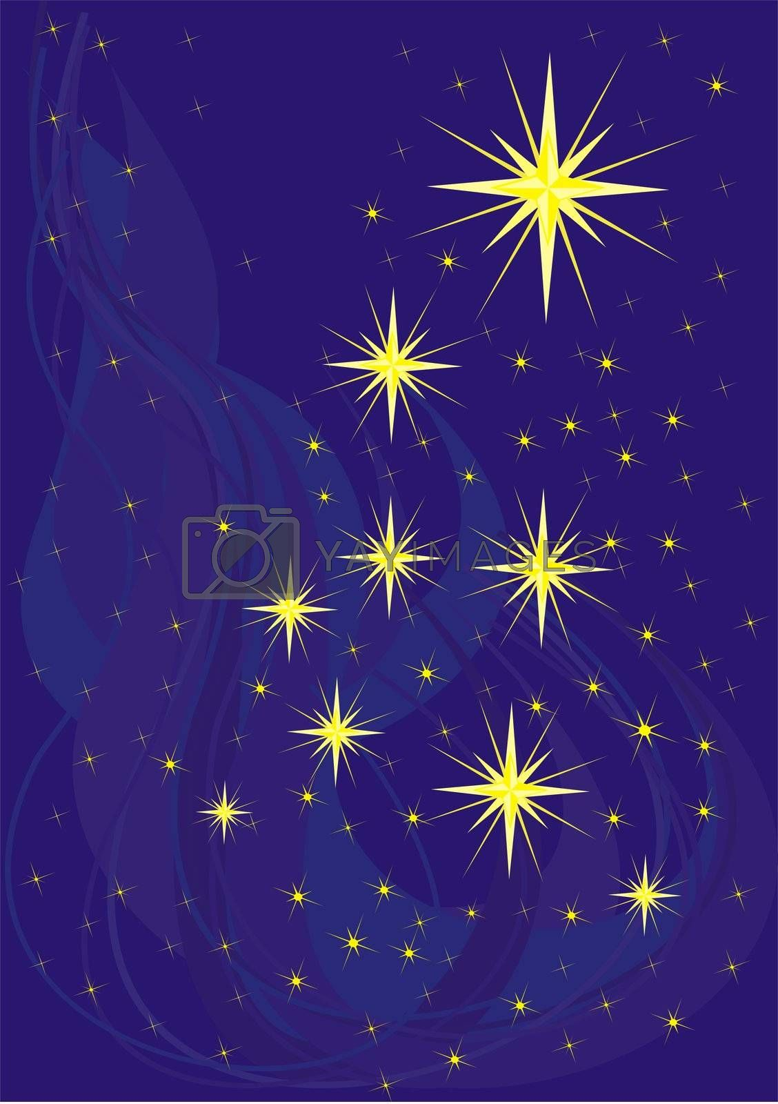 Sparkling stars on blue, christmas background illustration