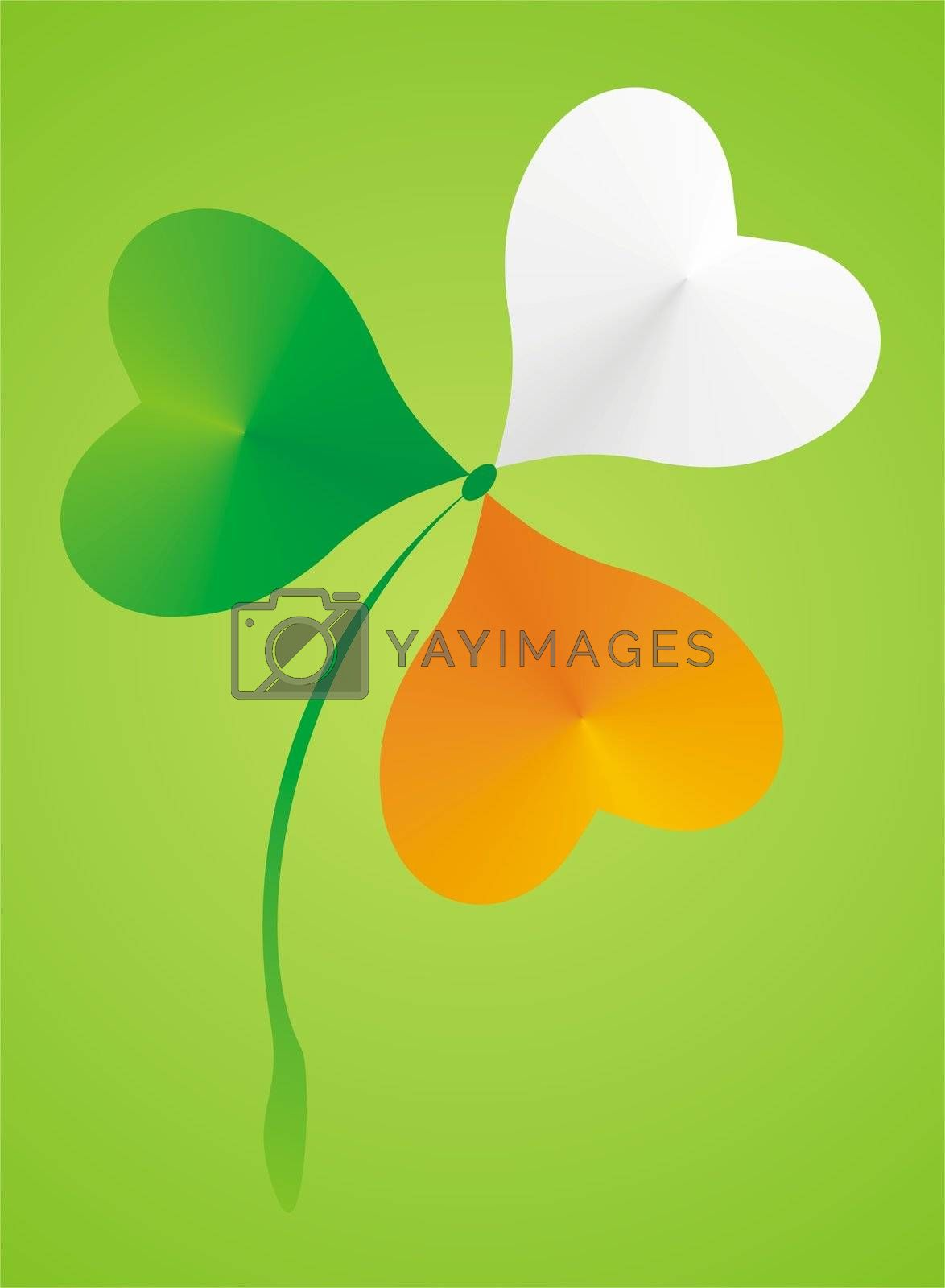 Shamrock clover in the colors of the Irish flag on green background