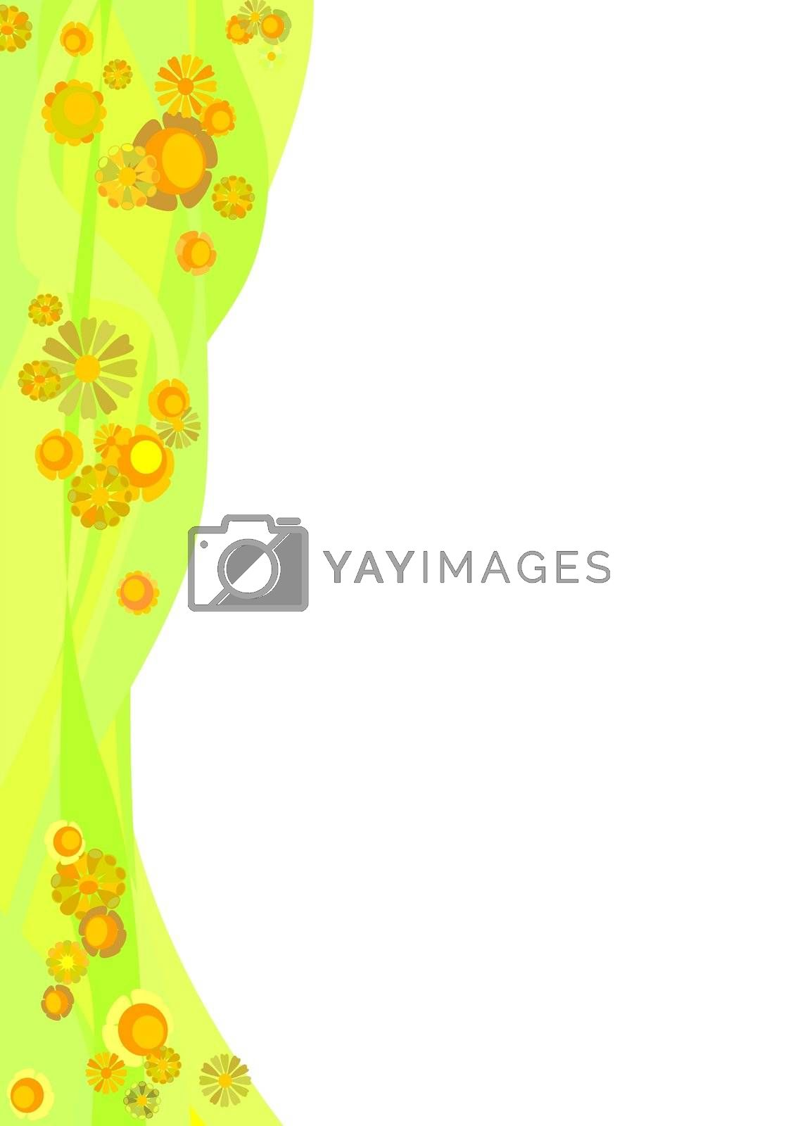 Decorative border, yellow flowers on green