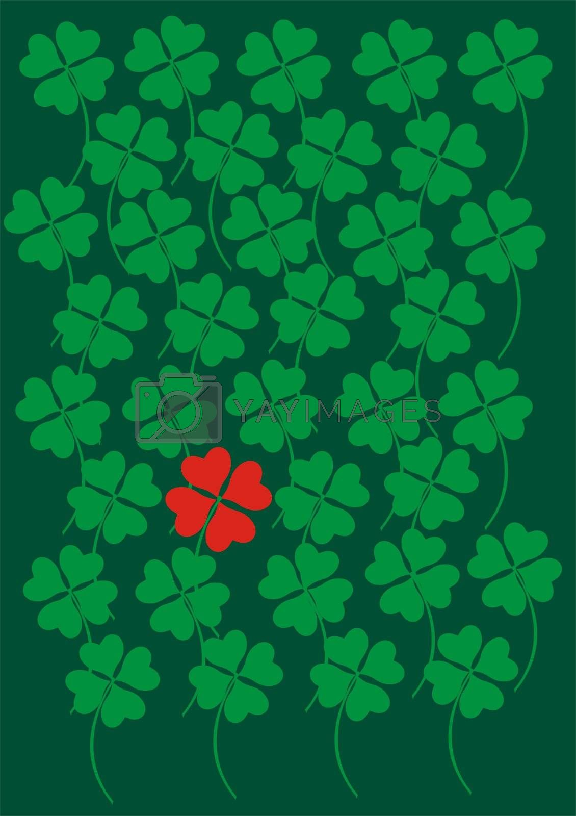 four leaf clover made of heart shapes as symbol of luck