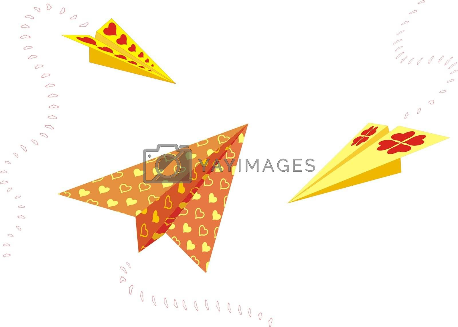 Paper planes sending greetings for valentines day, illustration