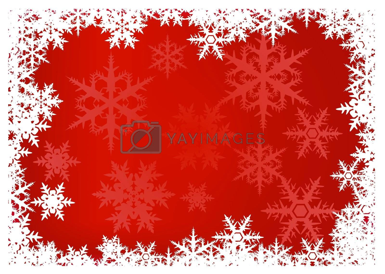 red Christmas background with snowflake border