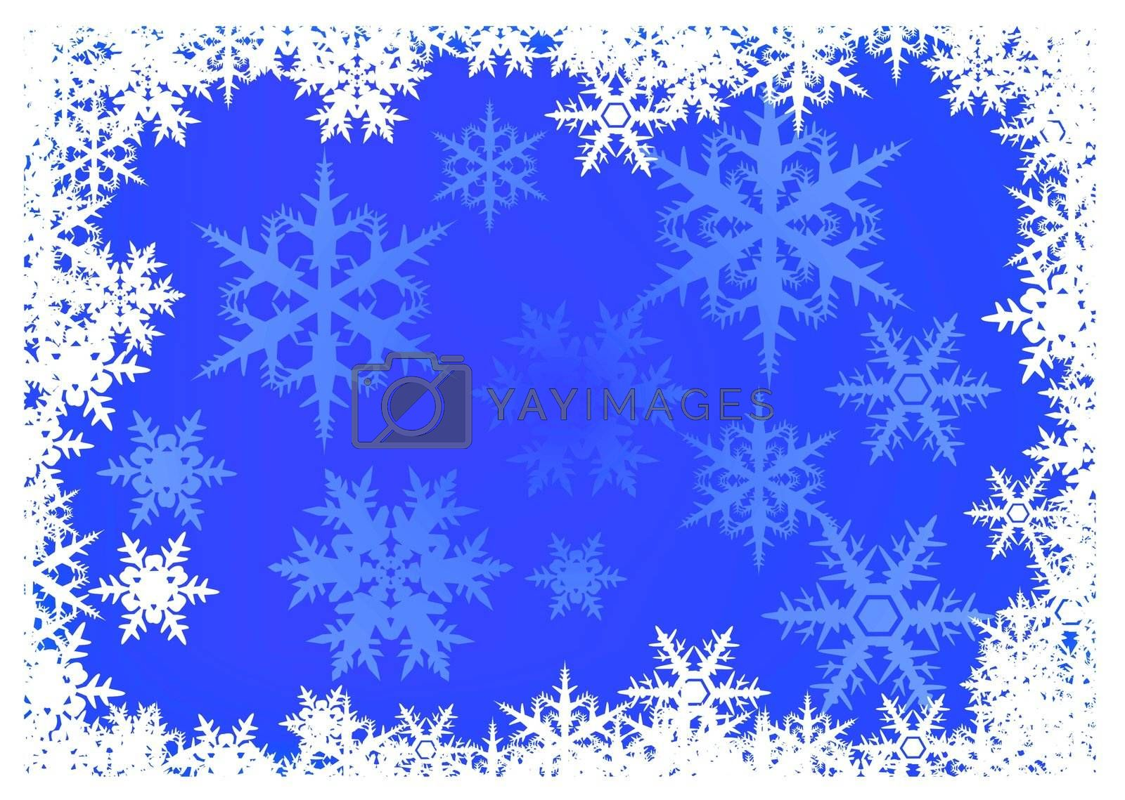 blue Christmas background with snowflake border