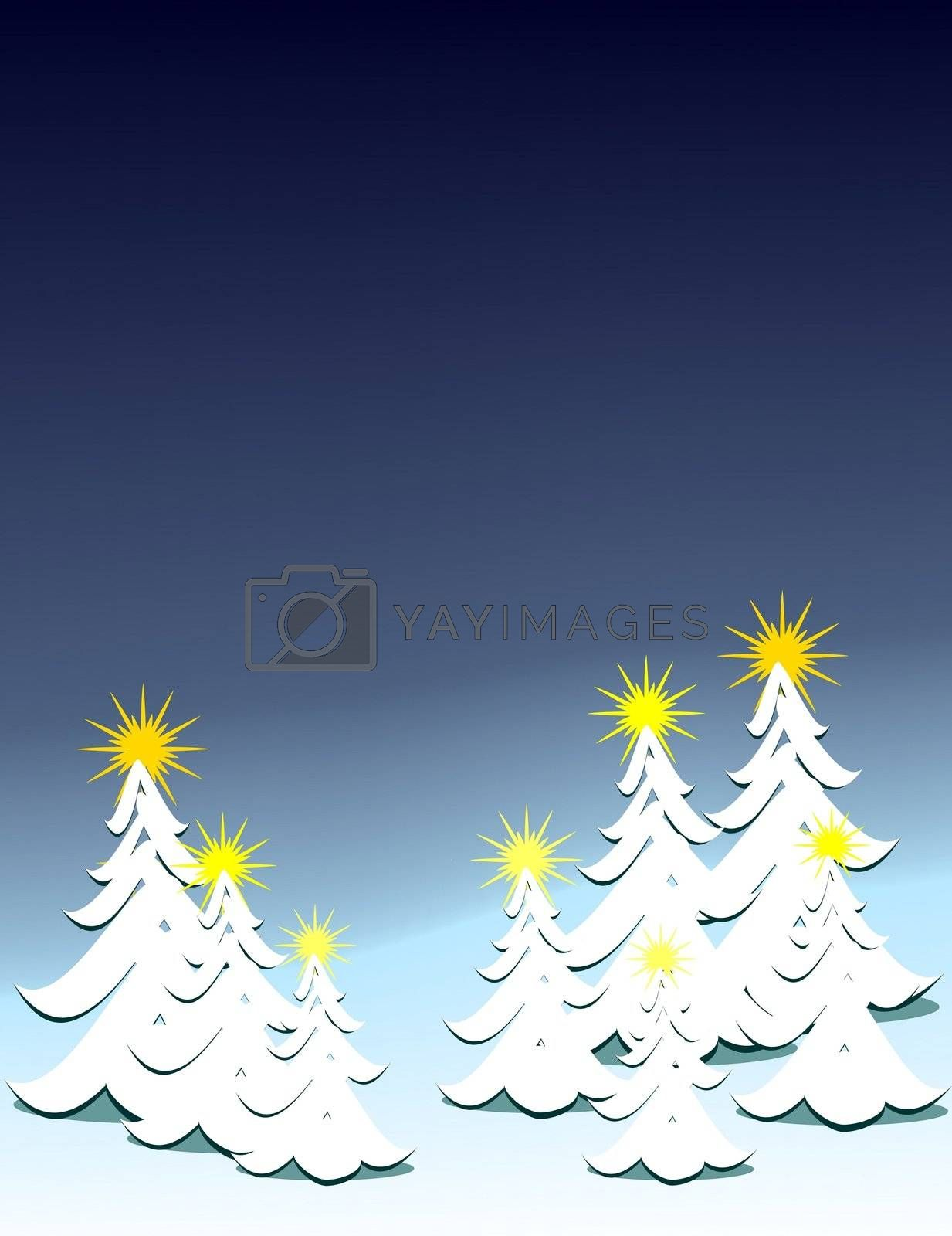 blue background with snow covered Christmas trees