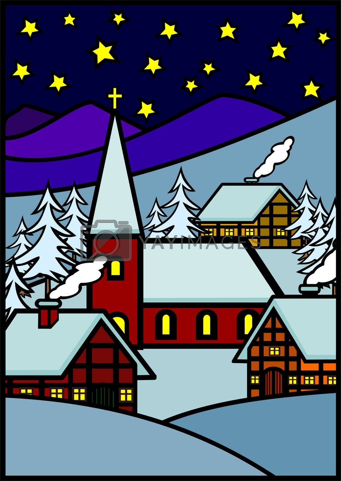Christmas winter village in the snow, illustration