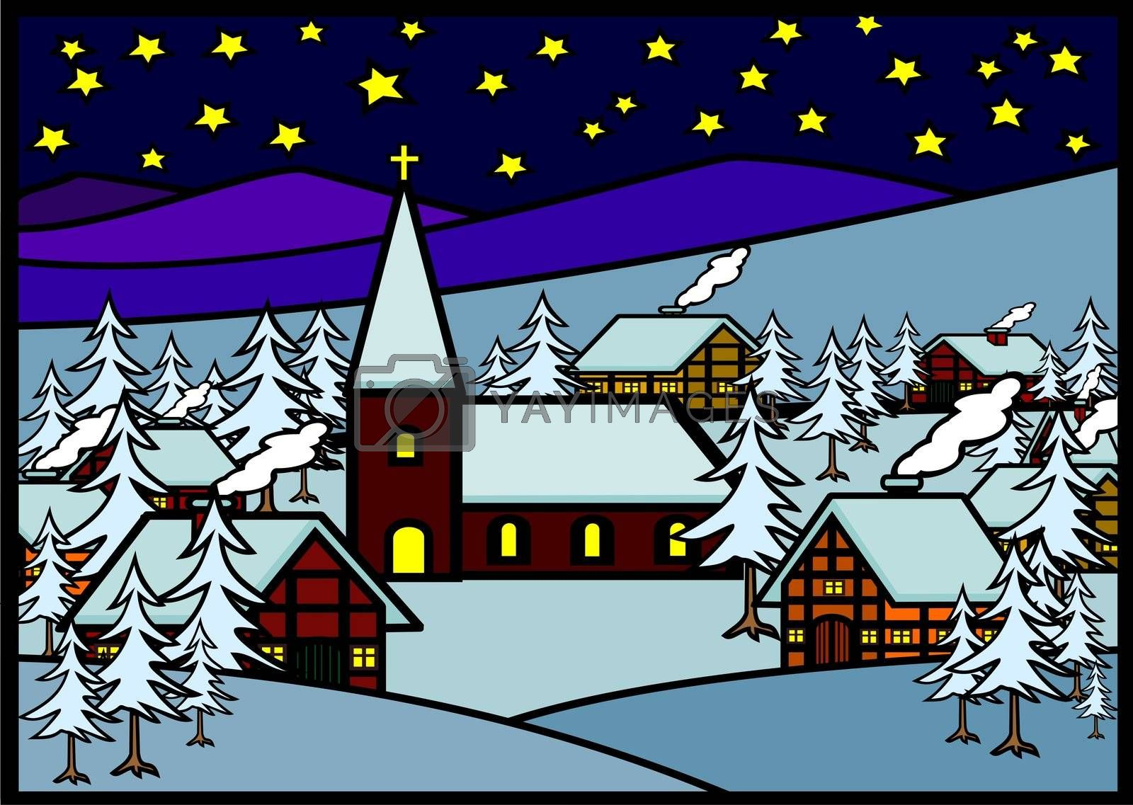 Christmas Village in a Snowy Landscape