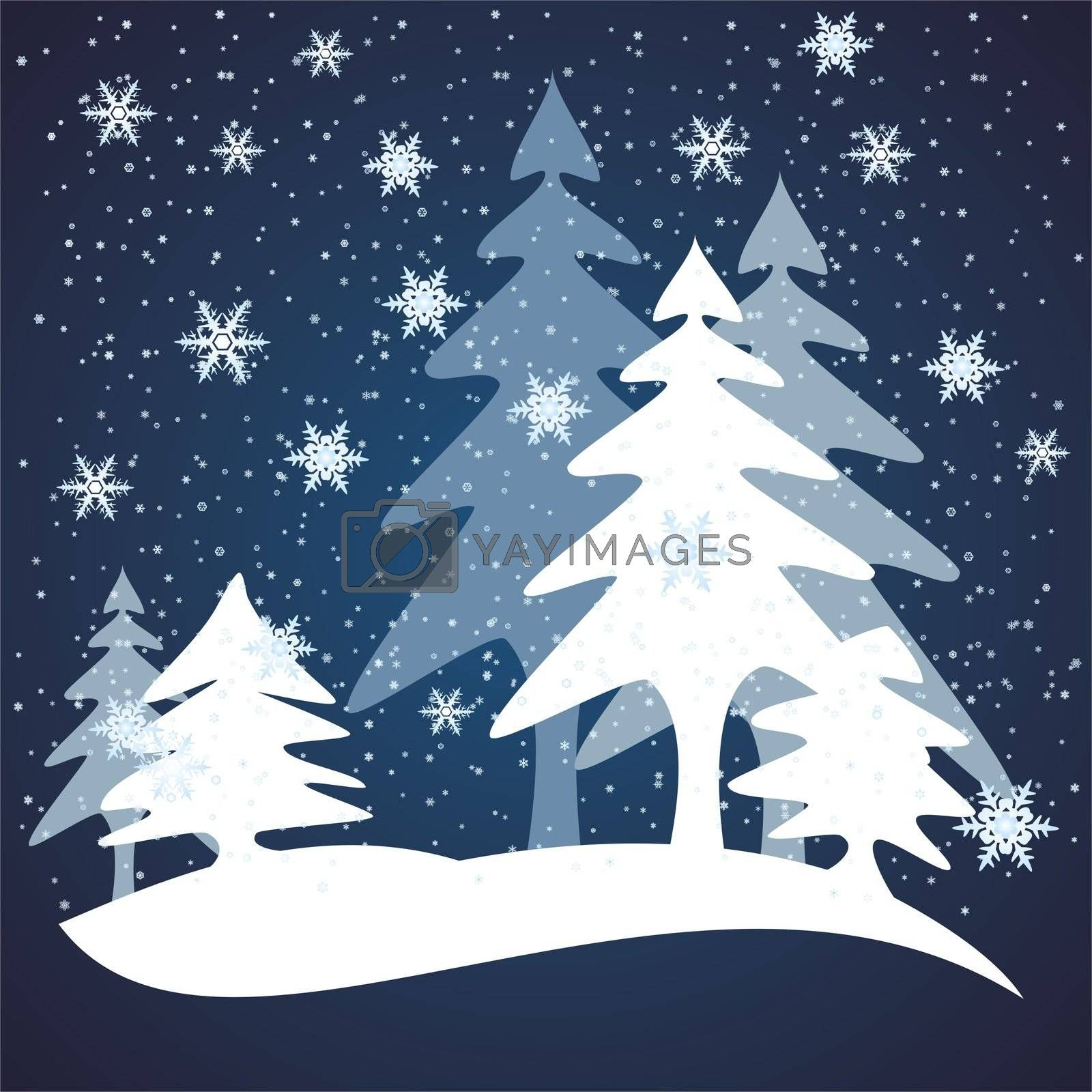 winter forest covered with snow usable as background for Christmas