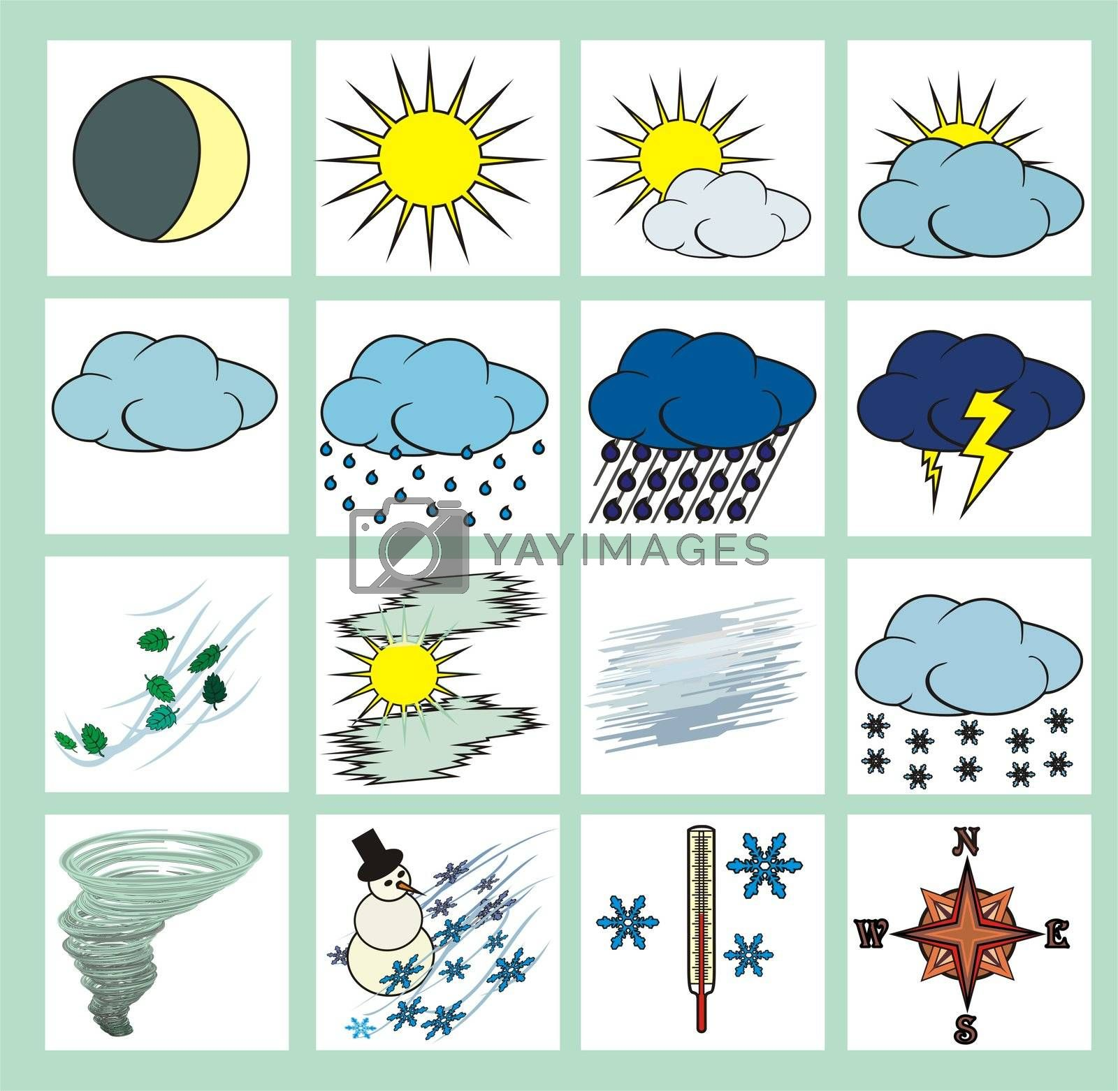 Weather icons or cliparts color with black outlines on white background