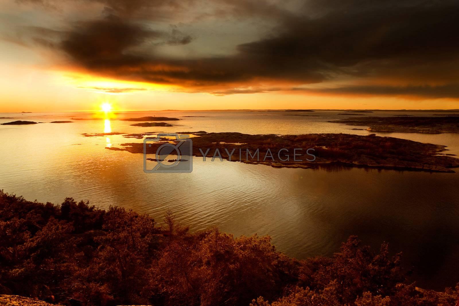 Coastal Landsacpe on the very outside of the Oslo Fjord near Fredrikstad, Norway.