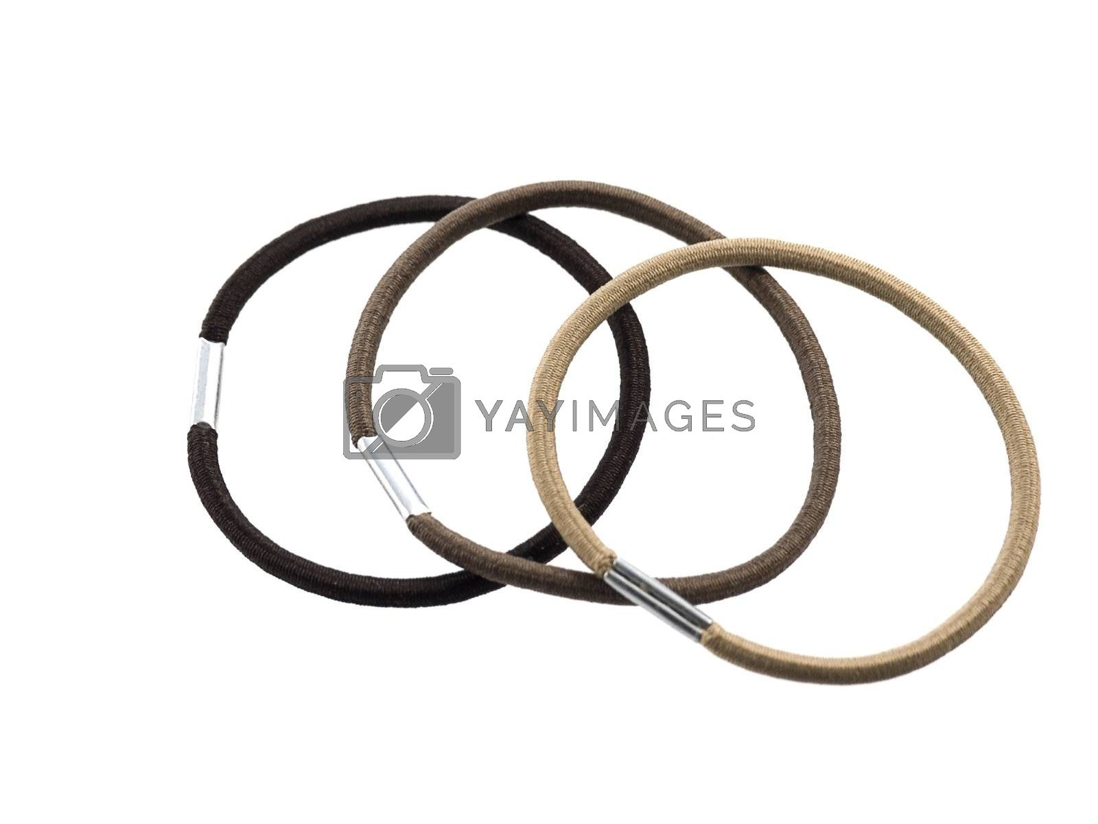 close-up of elastic bands for hair isolated on white background