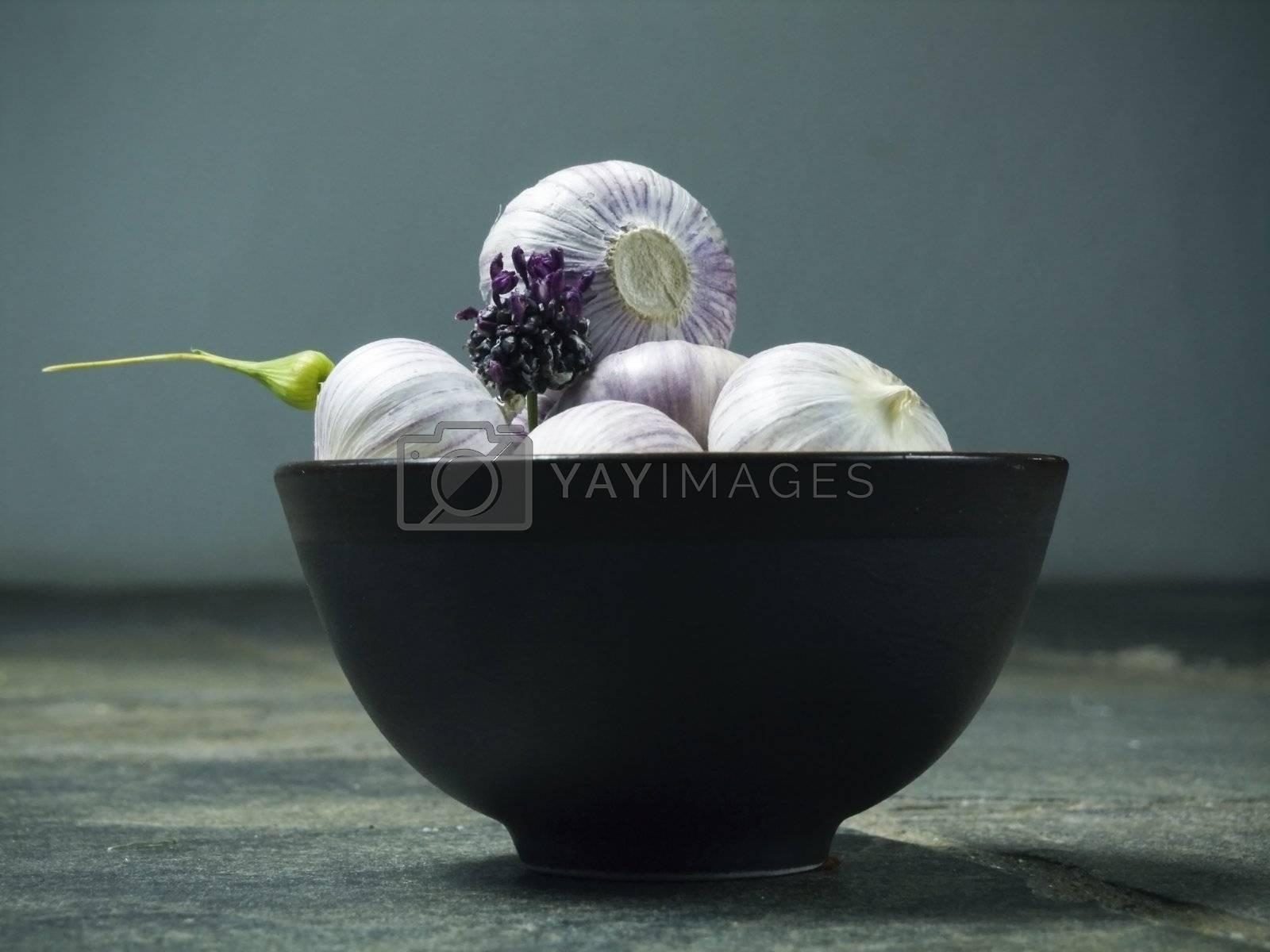 bowl full of fresh garlic on dark background