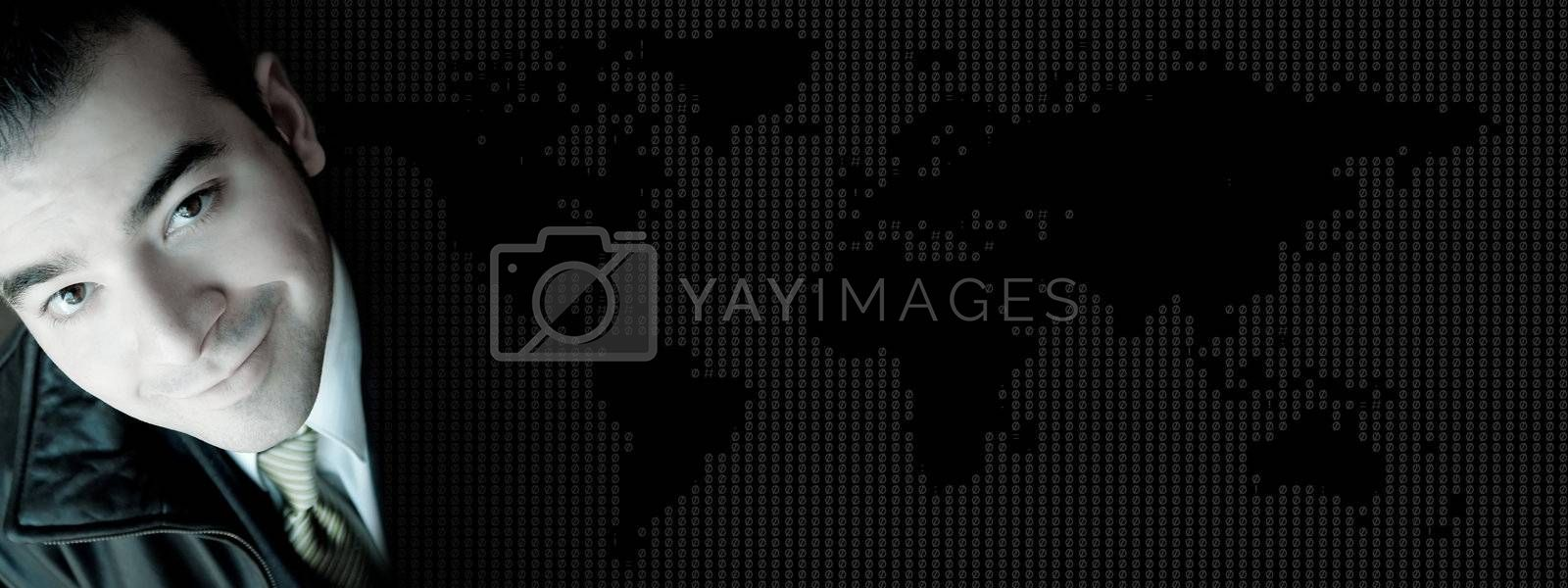 Business banner background with a smiling young business man over a world map texture.