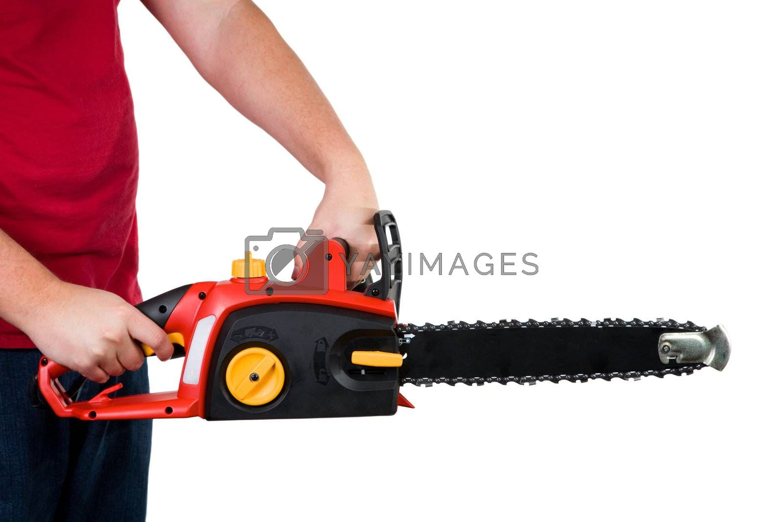 A closeup of a man holding a chainsaw. Isolated on a white background.